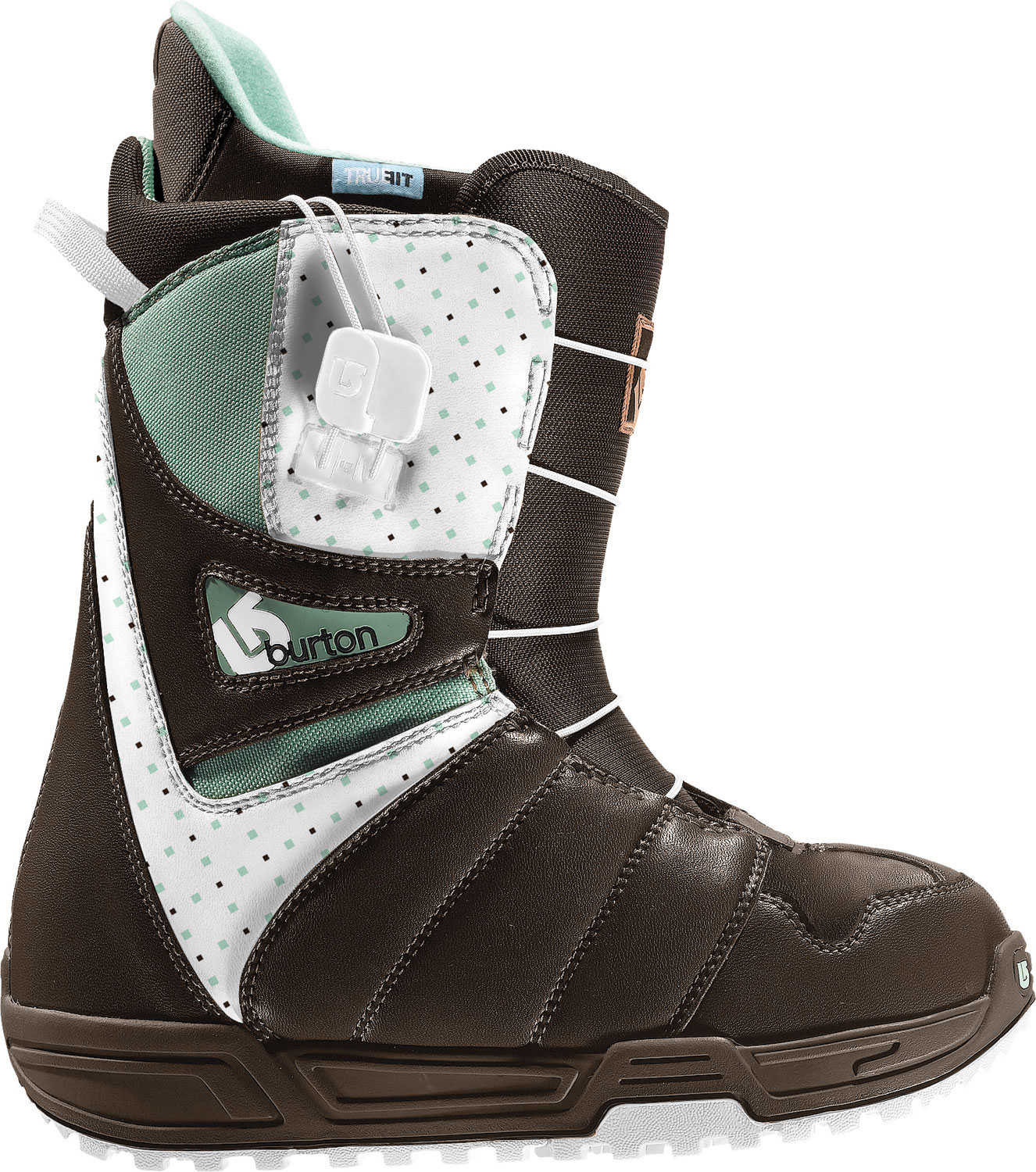 Snowboard Get right to the good times with the world's #1 boot. Loaded with quality and convenience at a price that is downright dope, it is easy to see why the Mint has been the world's bestseller six years straight. Burton's heat-moldable Imprint liner conforms to the exact contours of your feet, while True Fit means a down to the details design that shapes everything (even the lace guides!) around a women's foot shape. Speed Zone Express wraps the entire package with the simplicity of a single-pull lacing system.Key Features of The Burton Mint Women's Snowboard Boots: Lacing: Speed Zone Express [Single Pull Lacing Simplicity] Liner: Imprint 1 Liner with True Fit Design Cushioning: 2-Part Outsole with EVA Cushioning and Rubber Ice Spikes Flex and Response: Grip Fit Backstay and Soft Flex Thin Profile 3D Molded Tongue Comfort: Level 1 Molded EVA Footbed The World's Bestselling Women's Boot Six Years Running Support: 3 - $82.95