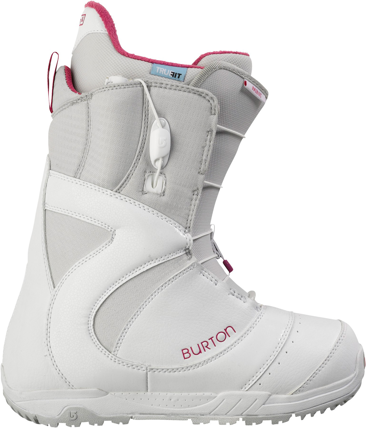 Snowboard Shred better with the world's bestseller.Key Features of the Burton Mint Snowboard Boots: Support: 3 Women's-Specific True Fit Design Lacing: Speed Zone Lacing System for True Zonal Lacing Control Liner: Imprint 1 Liner with Integrated Lacing Cushioning: Dual-Component Outsole with EVA Cushioning and Rubber Ice Spikes Flex and Response: Grip Fit Backstay and Soft Flex 3D Molded Tongue Comfort: NEW Total Comfort Construction, Snow-Proof Internal Gusset, and Level 1 Molded EVA Footbed The World's Bestselling Women's Boot Nine Years Running - $111.95