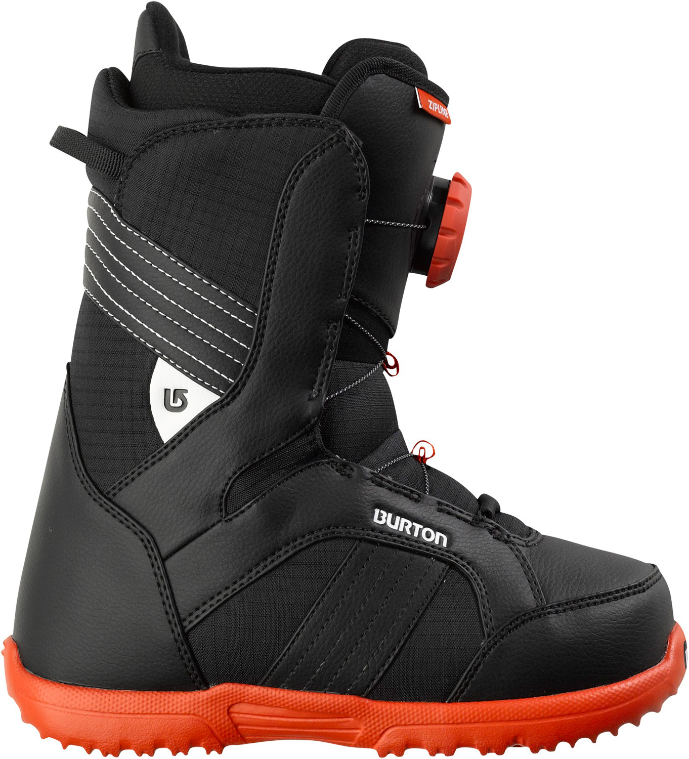 Snowboard Big kid tech and comfort, dialed in for junior. Key Features of the Burton Zipline Snowboard Boots: Support: 2 Lacing: NEW Speed Dial Lacing System Liner: Youth Imprint Liner Cushioning: DynoLite Outsole Comfort: Snow-Proof Internal Gusset and Level 1 Molded EVA Footbed - $83.95