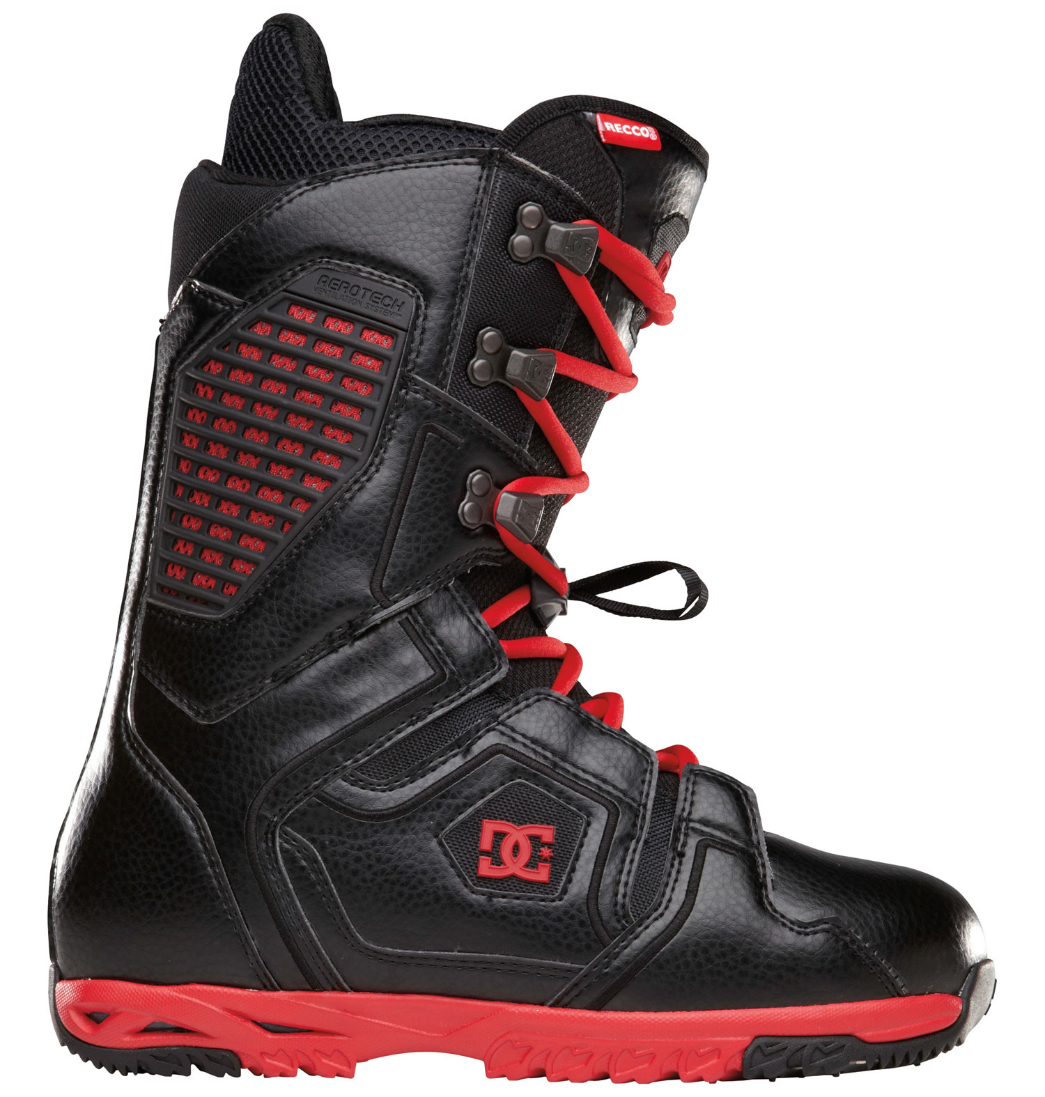 Snowboard Seize the day in a new pair of DC Ceptor Snowboard Boots. Featuring an Alpha Liner with multi-density zones and shock absorbing ImpactG technology, these boots are as comfy as they come. The Aerotech Ventilation System with molded vents in the shell and liner only adds to the luxurious feel of the Ceptor boots for an empowering ride. The boots are rated as level 8 for flex, which allows you to charge into battle with incredible responsiveness to maneuver your way past the competition. If you're looking for a one-of-a-kind comfort and style combo, wield the Ceptors from DC.  Flex: 8   Direct Power Lacing: strategically designed overlays in the boots upper provide more power and leverage for optimal shell closure   WrapLock: wrap Lock hardware prevents your laces from slipping by simply wrapping around the hardware. this can turn your traditional lace boot into a zonal closure system by locking the lace at key points   3D Tongue   Articulation   Molded backstay   Welded Toe Cap   Aerotech Ventilation System: molded vents in the shell and liner work in unison to release unwanted moisture away from the riders foot. This proprietary system will keep your feet warm and dry and prevent bacteria build up   Internal Ankle Harness   UniLite: DC's proprietary outsole technology, UniLite provides traction, durability, dampening and cushioning all while drastically reducing weight. UniLite soles feature distinct traction patterns for ascending, descending and skating around with our Push Zone tread pattern. The snow-shedding traction designs also prevent snow from building up and clogging bindings   ImpactG: For the ultimate in comfort we incorporate ImpactG, our proven impact absorbing system that does not change properties under varied temperatures or climates   Alpha Liner: multi density zones, neoprene ankle strap, aerotech system, aegis, full grain leather collar top on status and terrain models, anatomical j-bars - $162.95