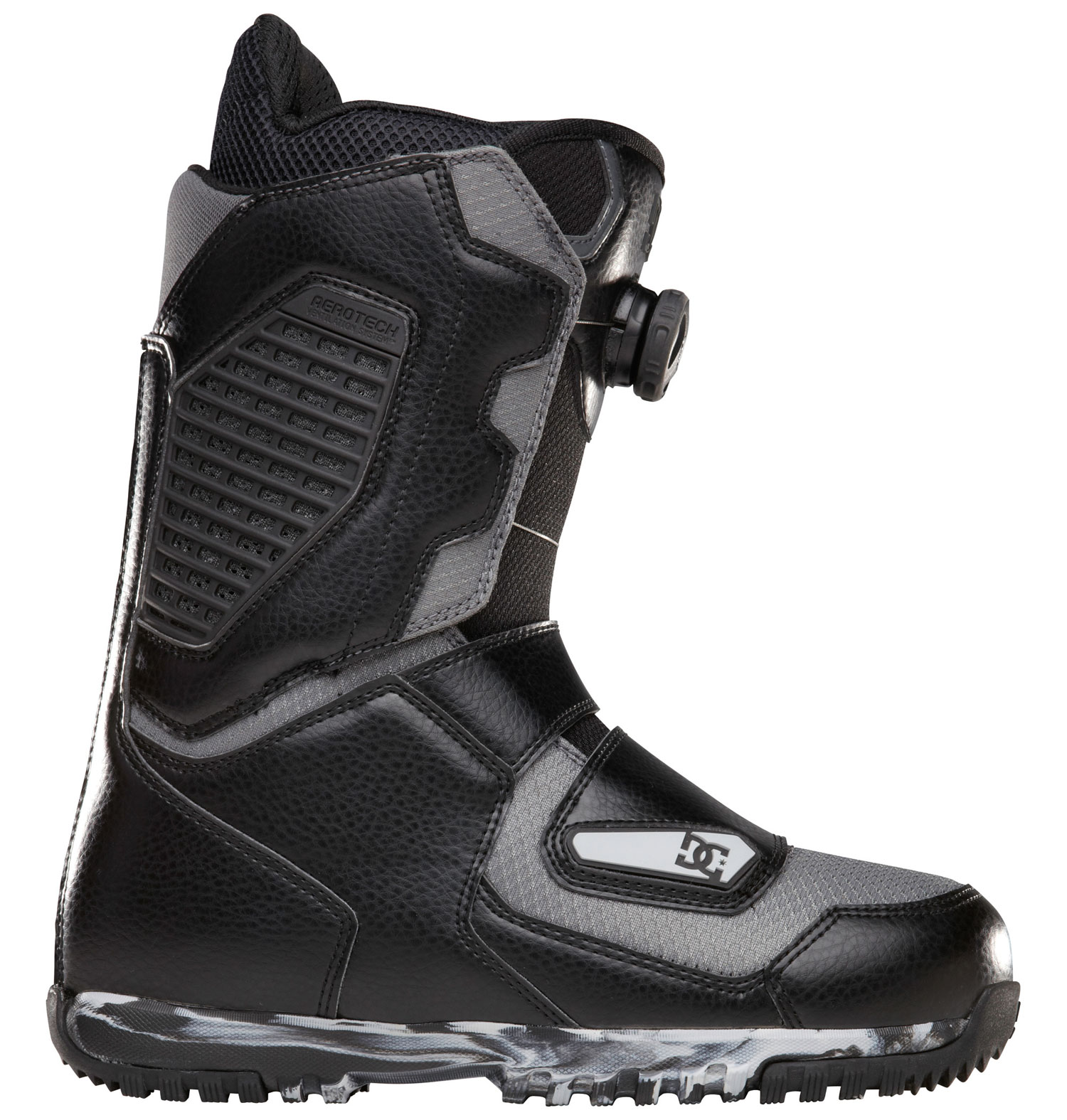 "Snowboard ""Court is in session and this boot is in charge!""- andrew geevesKey Features of the DC Judge Snowboard Boots: Flex: 8 Aerotech Ventilation System: molded vents in the shell and liner work in unison to release unwanted moisture away from the riders foot. this proprietary system will keep your feet warm and dry and prevent bacteria build up. Constrictor Hybrid System 3D Tongue Articulation Molded backstay Internal Ankle Harness UniLite: DC's proprietary outsole technology, UnILIte provides traction, durability, dampening, and cushioning all while drastically reducing weight. UnILIte soles feature distinct traction patterns for ascending, descending, and skating around with our Push Zone tread pattern. the snow-shedding traction designs also prevent snow from building up and clogging bindings. Boa Coiler Alpha Liner: multi density zones, neoprene ankle strap, aerotech system, aegis, full grain leather collar top on status & terrain models, anatomical j-bars - $195.95"