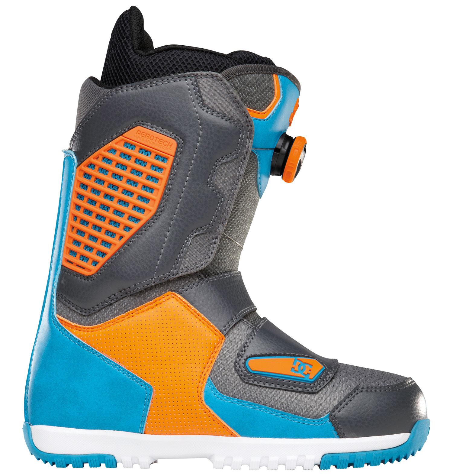 "Snowboard ""Court is in session and this boot is in charge!""- andrew geevesKey Features of the DC Judge Snowboard Boots: Flex: 8 Aerotech Ventilation System: molded vents in the shell and liner work in unison to release unwanted moisture away from the riders foot. this proprietary system will keep your feet warm and dry and prevent bacteria build up. Constrictor Hybrid System 3D Tongue Articulation Molded backstay Internal Ankle Harness UniLite™: DC's proprietary outsole technology, UnILIte provides traction, durability, dampening, and cushioning all while drastically reducing weight. UnILIte soles feature distinct traction patterns for ascending, descending, and skating around with our Push Zone tread pattern. the snow-shedding traction designs also prevent snow from building up and clogging bindings. Boa® Coiler Alpha Liner: multi density zones, neoprene ankle strap, aerotech system, aegis, full grain leather collar top on status & terrain models, anatomical j-bars - $209.95"