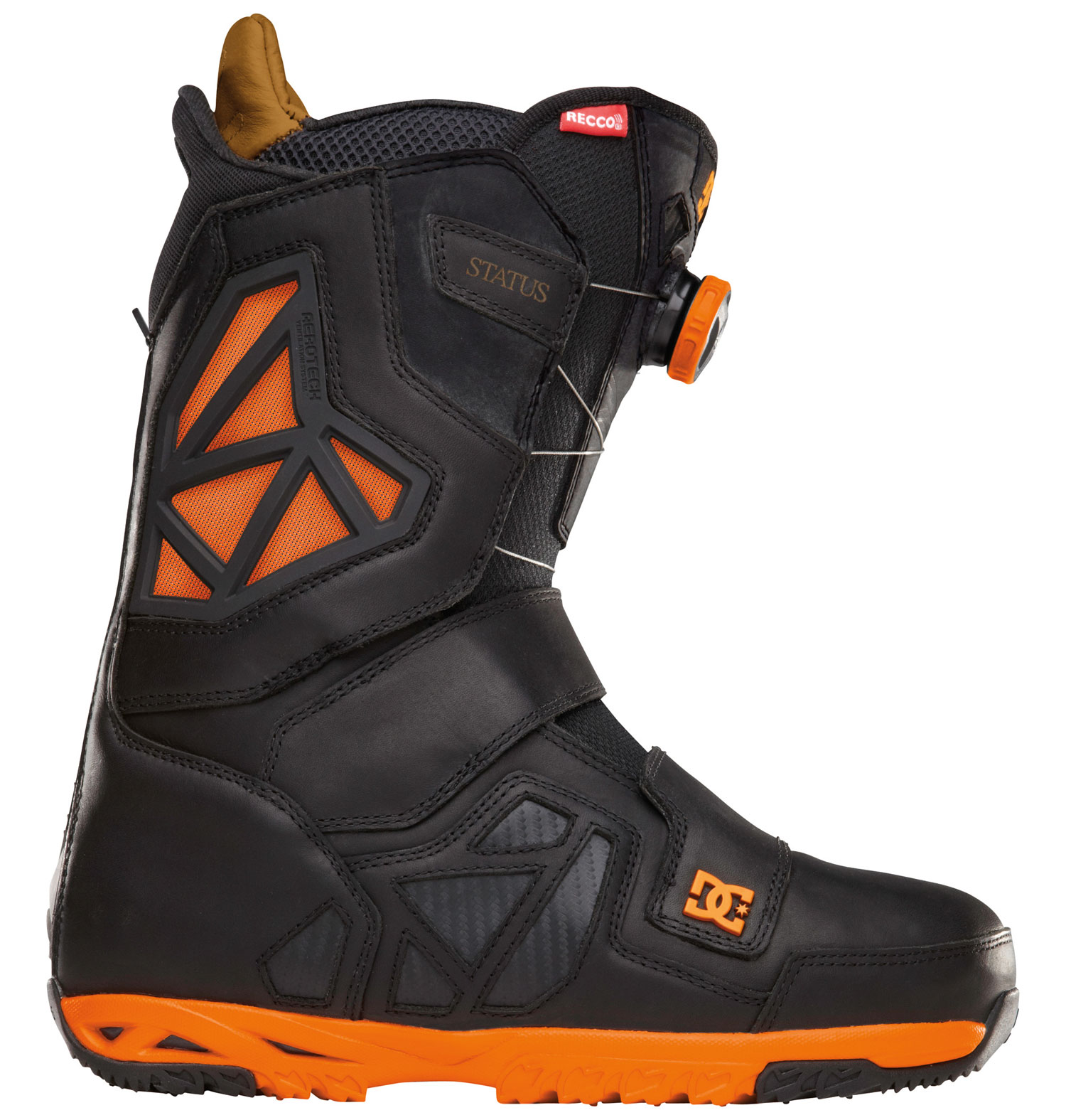 "Snowboard ""A well equipped, supportive boot that breaks in the first day but doesn't get sloppy. Flex where you want it, support where you need it. The in-out convenience of boa technology and a smaller profile for less drag. Stay warmer and dryer with aerotech liners."" - travis riceKey Features of the DC Travis Rice Status BOA Snowboard Boots: Flex: 9 Full Grain Leather Aerotech Ventilation System: molded vents in the shell and liner work in unison to release unwanted moisture away from the riders foot. this proprietary system will keep your feet warm and dry and prevent bacteria build up. Constrictor Closure System 3D Tongue Articulation Molded backstay Internal Ankle Harness UniLite™: DC's proprietary outsole technology, UnILIte provides traction, durability, dampening, and cushioning all while drastically reducing weight. UnILIte soles feature distinct traction patterns for ascending, descending, and skating around with our Push Zone tread pattern. the snow-shedding traction designs also prevent snow from building up and clogging bindings. ImpactG™: For the ultimate in comfort we incorporate ImPaCt G, our proven impact absorbing system that does not change properties under varied temperatures or climates Boa® Coiler Alpha Liner: multi density zones, neoprene ankle strap, aerotech system, aegis, full grain leather collar top on status & terrain models, anatomical j-bars - $262.95"