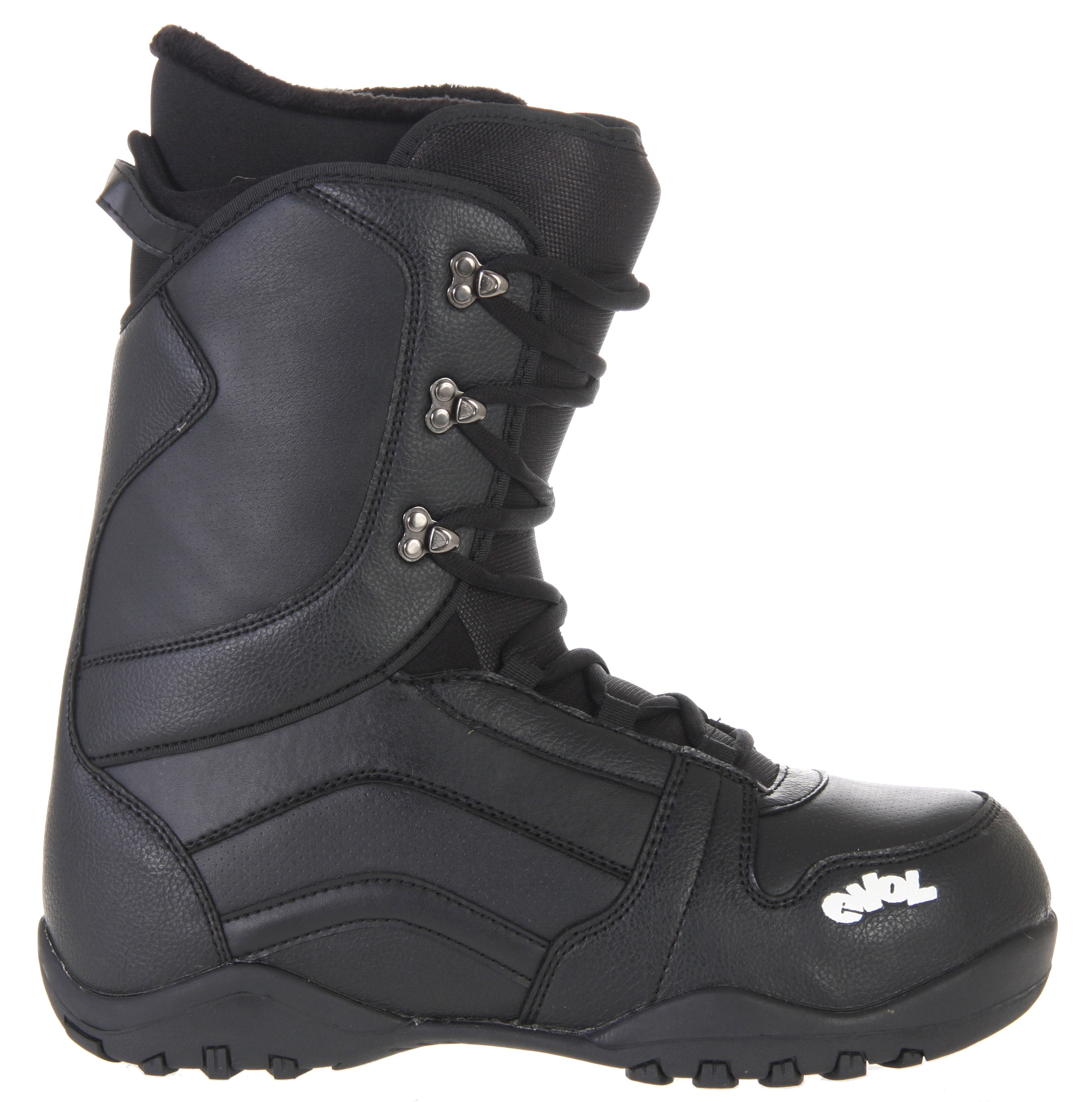 "Snowboard Humans have evolved over millions of years, at least according to ""scientists!"" In that spirit of progression, these Evol 1080 Snowboard Boots are a step up along the evolutionary ladder. They have a lace-up liner for maximum temperature management and comfort, with a molded backstay for maximum heel and leg comfort and a rubber 2-piece sole for cushion. Slip these black beauties into your bindings and be prepared for a full day of hitting the slopes and shredding.Key Features of the Evol 1080 Snowboard Boots: Deluxe lace up liner Race lace system Molded TPR backstay Phylon and rubber 2 piece sole - $77.95"