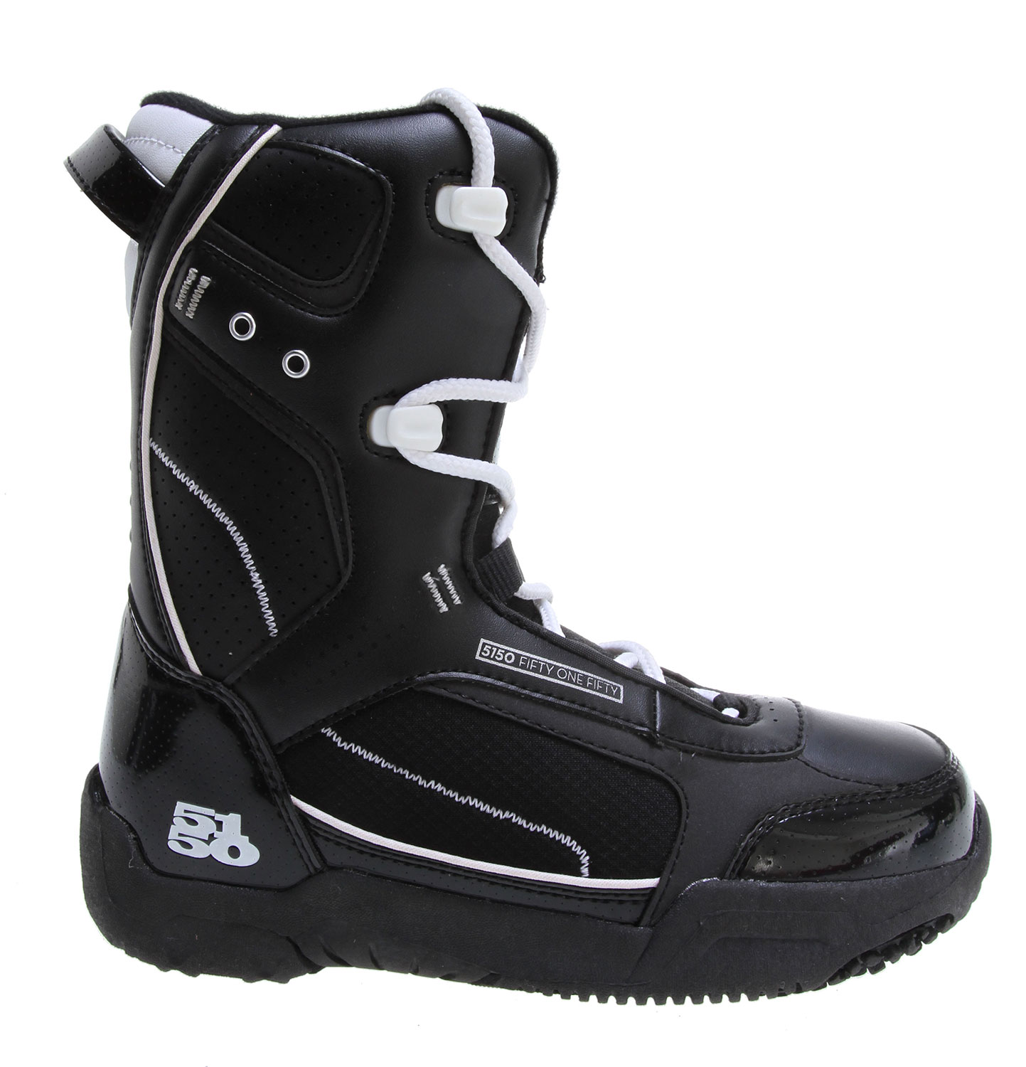 Snowboard Offering smaller feet a fit like no other, the Brigade is a high performance boot made specifically for the young guns. Waterproof shell construction provides the ergonomic support they need to shred hard, while the integrated liner keeps feet warm and comfy all day. The durable Sidewinder outsole design features ultimate cushion and traction.Key Features of the 5150 Brigade Snowboard Boots : Sidewinder Outsole with durable Rubber for a grip that won't slip Integrated Liner with Removable Insole provides warmth and cushion Durable Waterproof Shell Construction gives ergonomic support Webbing Lace Loops with Speed Hooks for easy lacing Soft-Flex Upper with Full Support Ankle Pocket and Heel Lock-Down Pad - $70.95