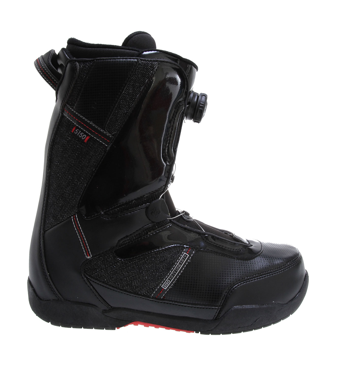 Snowboard The Legion's slim profile, high performance design comes complete with a PowerPlus thermo-formable EVA Liner, BOA lacing and lateral stiffening overlays, to ensure top performance and comfort in a stylish package.Key Features of the 5150 Legion Boa Snowboard Boots :  BOA closure system provides ultimate fit and on-the-fly adjustment  Path CTS Outsole with durable rubber for a grip that won't slip  PowerPlus EVA Liner with Power-Lace closure, Lace Lock, Performance Ankle Pocket, Flex-Toe design and removable insole  Durable body construction with lateral stiffening overlays  Multi-Zone ankle flex points - $84.95