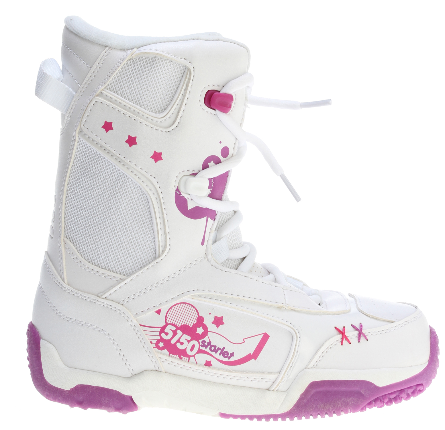 Snowboard A stylish high-performance boot for young girls, the Starlet shines on the hill. Waterproof shell construction provides the ergonomic support they need to shred hard, while the integrated liner keeps feet warm and comfy all day. The durable Sidewinder outsole design features ultimate cushion and traction. Combine it with the Starlet board and binding for a sassy package!Key Features of the 5150 Starlet Snowboard Boots: Sidewinder Outsole with durable Rubber for a grip that won't slip Integrated Liner with Removable Insole provides warmth and cushion Durable Waterproof Shell Construction gives ergonomic support Webbing Lace Loops with Speed Hooks for easy lacing Soft-Flex Upper with Full Support Ankle Pocket and Heel Lock-Down Pad - $64.95