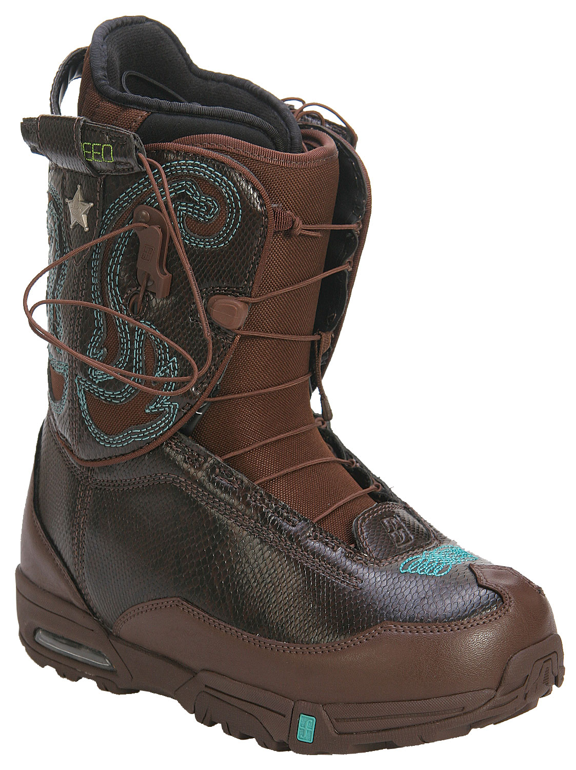 Snowboard The freestyle standard with hinky tonk flair. Returning for a second season by popular demand, our Western-inspired Stampede SLR is a lightweight technical freestyle boot that features our hybrid liner and Forum Speed Lacer (SLR) system, as well as an air-cartridge midsole, articulating external cuff for enhanced performance and supportive internal cuff for optimal heel hold and comfort. Plus, for 2008 we gave it a serious style boost by dressing it in all-over faux snakeskin.Key Features of The Forum Stampede SLR Women's Snowboard Boots: Concentrix Level 2 Liner: This simplified yet highly effective liner features a molded EVA footbed, anatomical PE supports and aegis antimicrobial coating to kill odor Gold Cuff Link: Highly supportive, backless internal cuff returns this season and sports a custom lace look. Attached cuff to the sides of the shell which greatly improves comfort, heel hold and overall fit Air Sole Forum Speed Lacer Lacing System Flex: 6 - $68.95