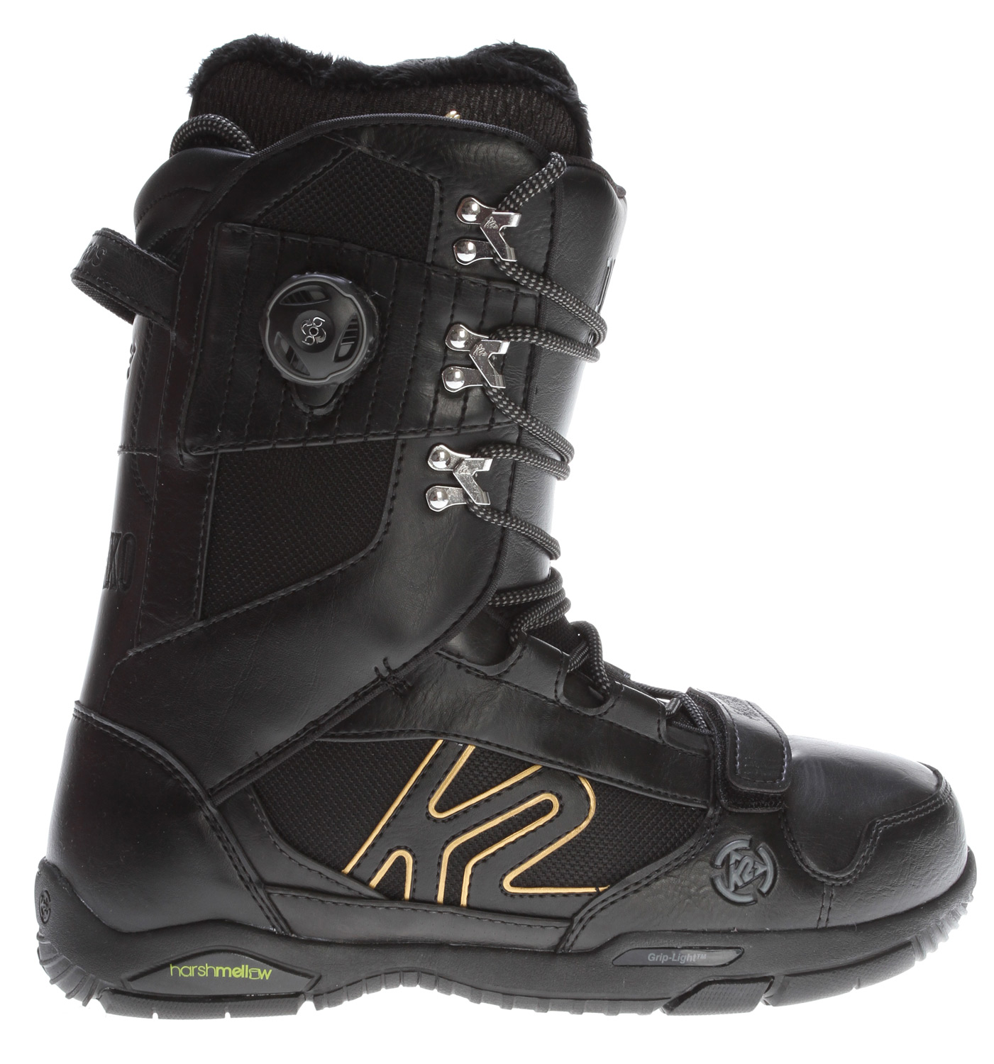 Snowboard A staple of K2's freestlye boot offering, the now lighter than ever Darko is the team choice for freestyle domination, featuring BoaConda liner lacing and Harshmellow dampening. Focused on the rider looking for a supportive yet flexible park boot, the Darko will continue to prove it's worth in gold. Key Features of the K2 Darko BOA Conda Snowboard Boots: Lacing System: Lace Up Liner Lacing: Boa?Conda Liner: Intuition? Control Foam 3D Outsole: NEW Grip-Lite Phylon with Rubber Pods and Harshmellow? Footbed: 3D Formed EVA with Harshmellow? Liner fit: Moldable Internal J Bars, Velcro Pod Closure Details: 3D Formed Tongue, Micro Articulating Cuff - $160.95