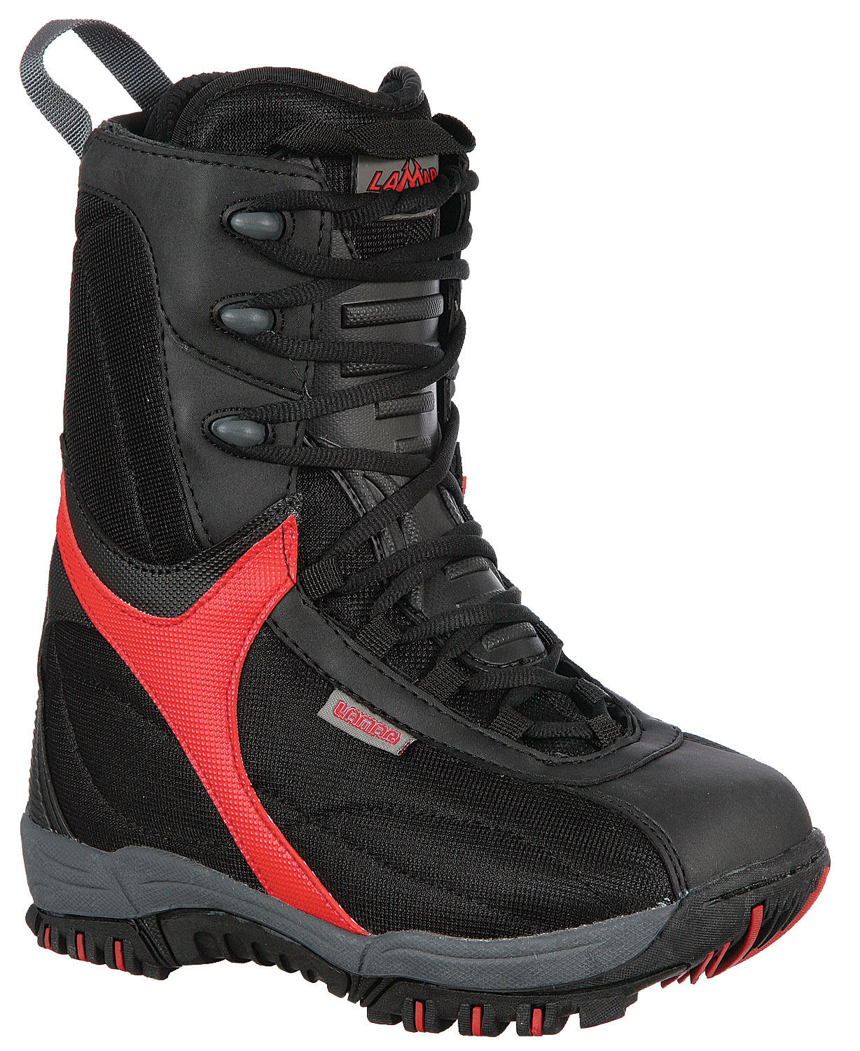 Snowboard The Lamar Demon snowboarding boot for kids offers a secure and comfortable fit by combining a thermal wrap EVA liner and internal heel hold lace harness with a nylon and synthetic upper. Key Features of the Lamar Demon Jr Snowboard Boots: All Mountain Performance Upper New EVA Rubber Cup Sole with Molded-in-Tech Grip Tread Pattern Internal Heel Hold Lace Harness NEW Molded Tongue Shield NEW HF Embossed Heel Counter and Back-Stay - $51.95