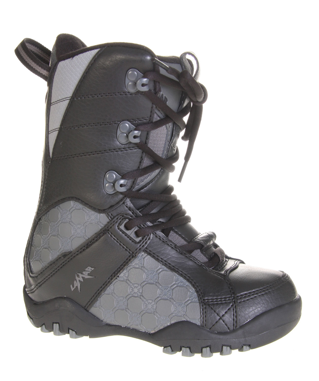 Snowboard The Lamar Justice Snowboard Boots are as heavy-duty in their dedication to getting the job done as their name makes them sound. With the inclusion of Low Profile dual density durability coupled with a built in liner system, these boots are guaranteed to stand up to the harshest weather conditions on both the interior and the exterior. Soft touch lacing and a flex zone tongue also allow the wearer an easy time of lacing up the boots and getting ready to go.Key Features of The Lamar Justice Youth Boy's Snowboard Boots: NEW Built in Liner System NEW Low Profile Dual Density Durable Soft Touch Lacing Tongue Gusset with Micro Injected Pull Tab Flex Zone Tongue NEW Upgraded Materials - $54.95