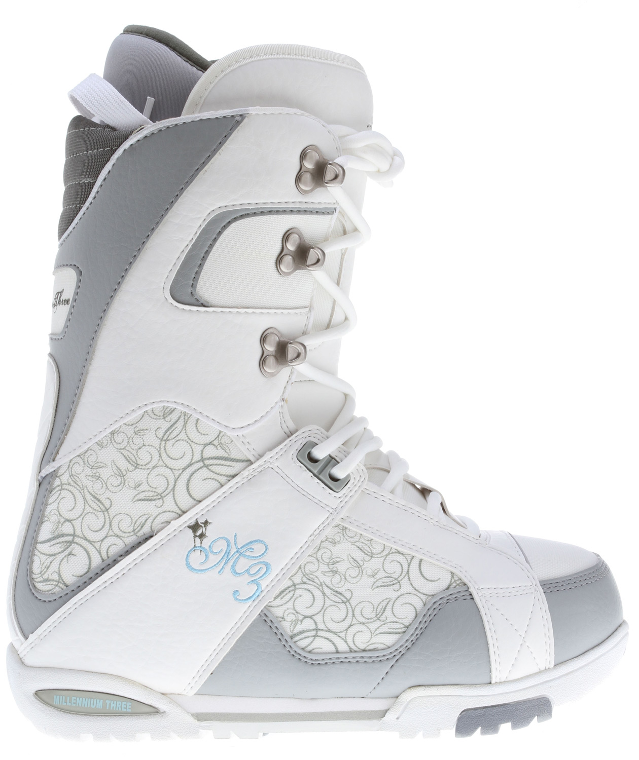 Snowboard These snowboarding boots from M3 offer style, comfort and performance. These white boots have a great stiff fit and padded design. Key Features of the M3 Venus Snowboard Boots: Integrated liner Speed hook lacing system Full ankle support Cup sole Synthetic and stitched upper Pull strap - $62.95