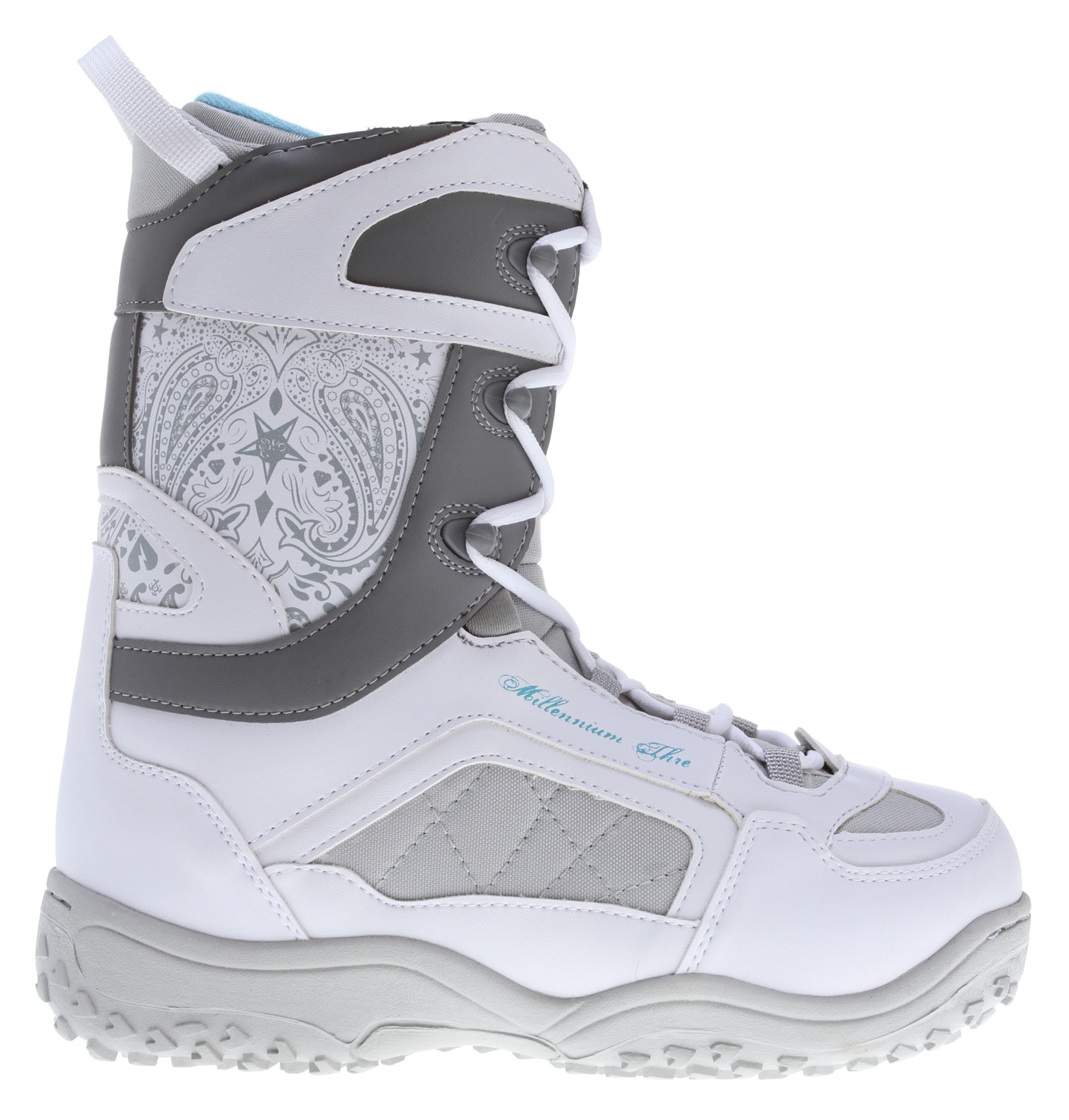 Snowboard These snowboarding boots from M3 offer style, comfort and performance. These white boots have a great stiff fit and padded design.Key Features of the M3 Venus Snowboard Boots:  Integrated liner  Speed hook lacing system  Full ankle support  Cup sole  Synthetic and stitched upper  Pull strap - $47.95