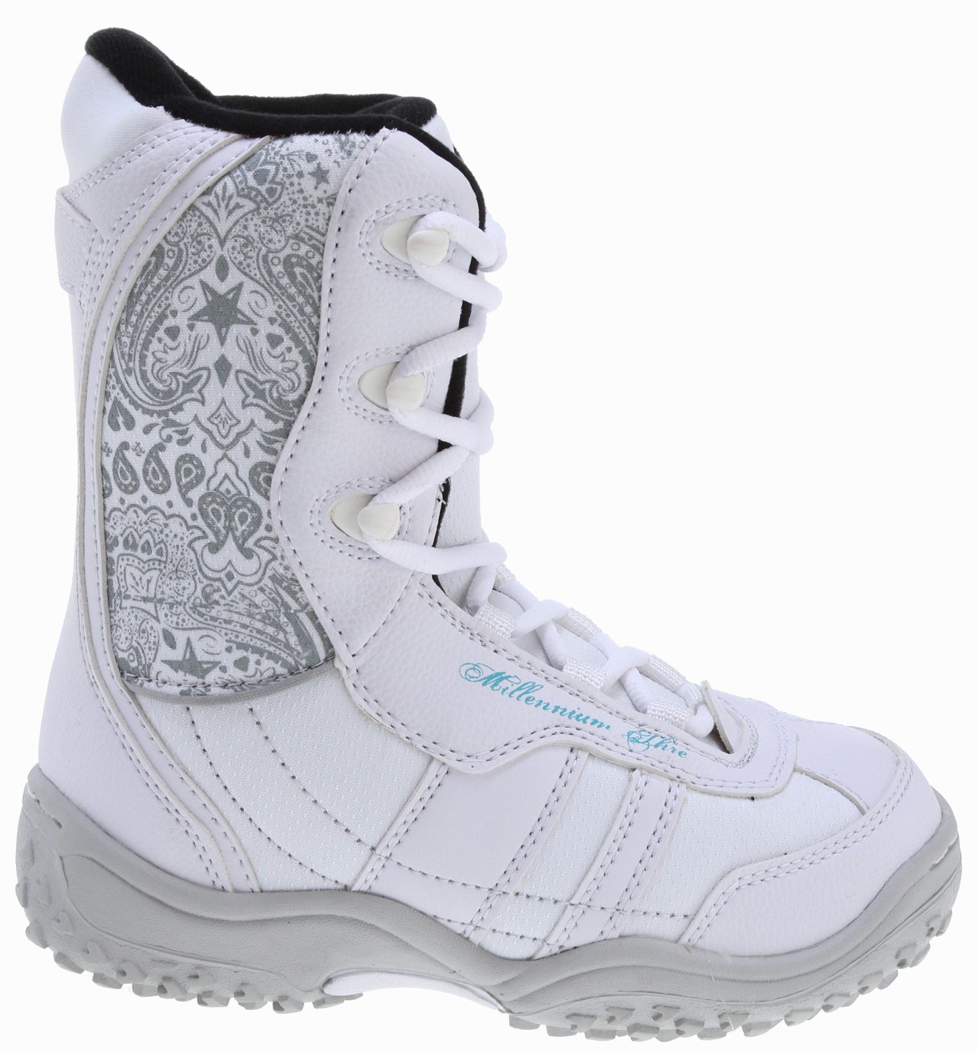 Snowboard These snowboarding boots from M3 offer style, comfort and performance. These white boots have a great stiff fit and padded design.Key Features of the M3 Venus Jr. Snowboard Boots: Integrated liner Speed hook lacing system Full ankle support Cup sole Synthetic and stitched upper Pull strap - $52.57