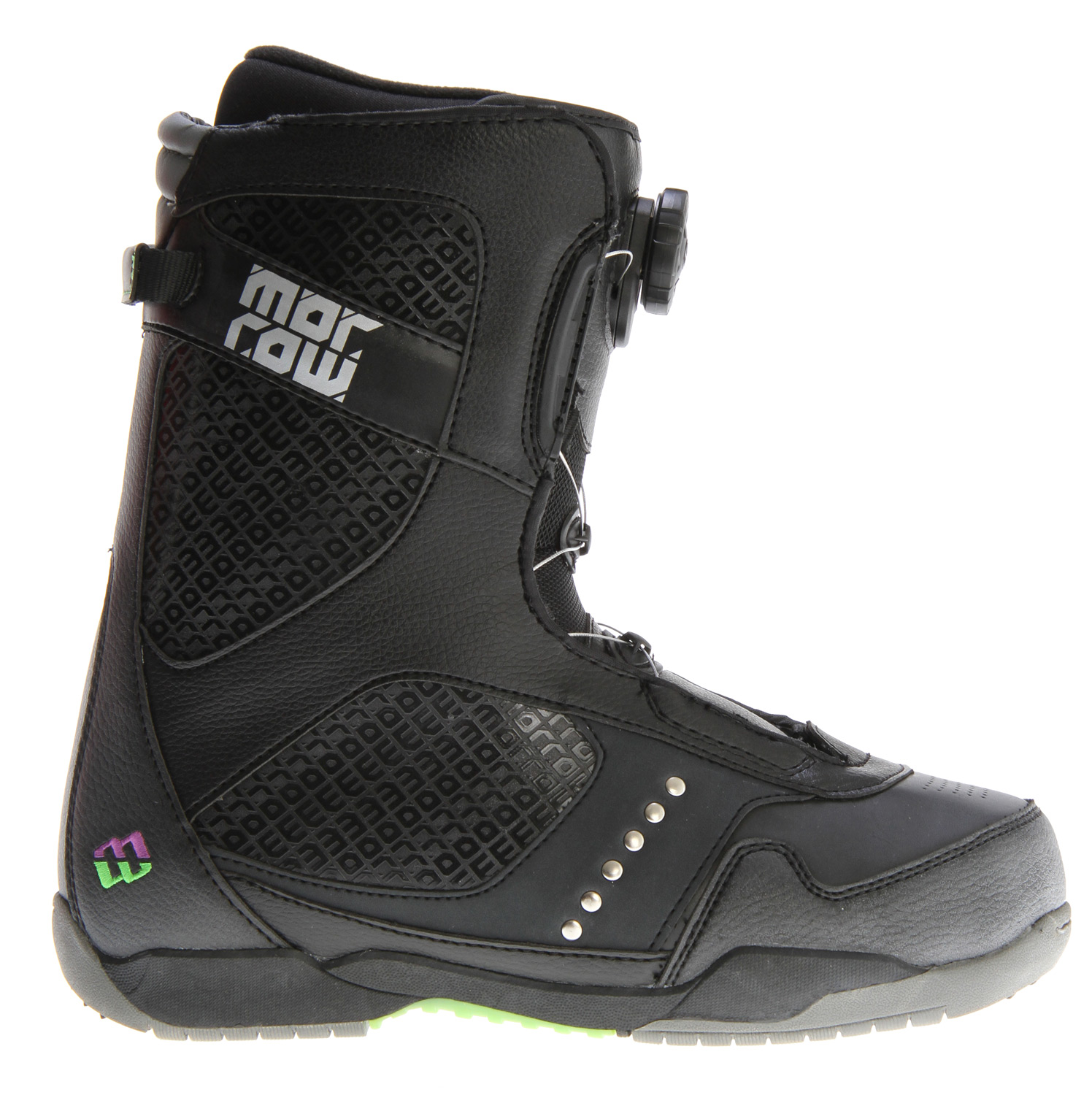 Snowboard The Kick is our high end, high performance snowboard boot. Available with Boa closure system or standard, the Kick provides the ultimate in fit and adjustment. The PowerPlus EVA Liner molds to your foot and the lace lock keeps your fit dialed in. The STC Outsole provides support and cushion while you ride.Key Features of the Morrow Kick BOA Snowboard Boots: Now available with Boa closure or lace-up STC Outsole provides support, traction & cushion PowerPlus EVA liner with lace lock BOA reel closure system provides ultimate fit and easy adjustment Synthetic leather body construction with embroidery detailing Multi-zone ankle flex points - $79.95