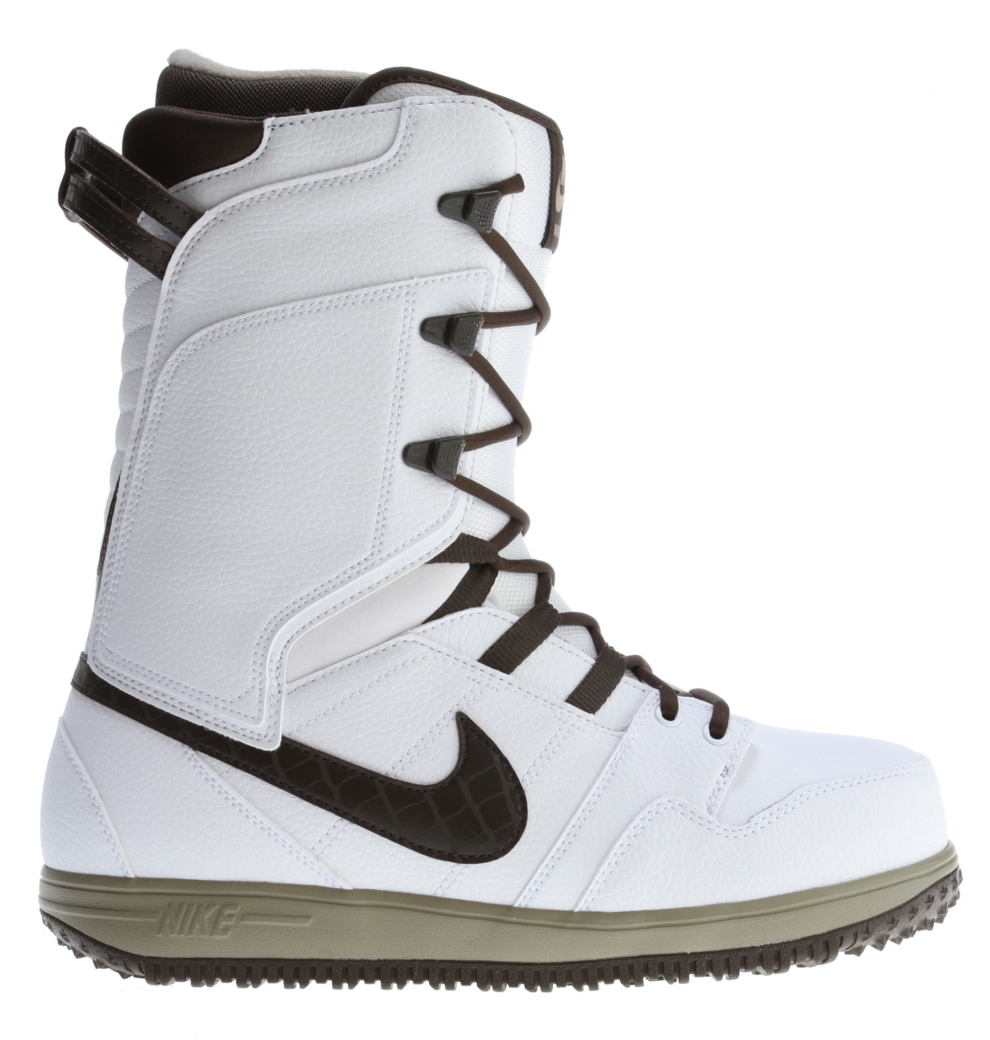 Snowboard The Nike Vapen snowboard boot is here! built to shred the mountain with a supportive flex that will keep you riding strong whether you are in love with the park or the white room. With a phylon midsole and outsole with full PU cushioning and a Nike Mogan 2 skate shoe inspired upper, the Vapen not only feels great, but keeps you looking good while doing it! The heat moldable liner is equipped with webbed lacing for a quick get up and go option and a warming blanket reflector to keep your dogs roastin'. JUST DO THE VAPEN!Key Features of the Nike Vapen Snowboard Boots::Upper Material: leather and nylon Sole Material: rubber Flex: Medium Lacing System: Regular Lace Liner Type: heat moldable Liner Lacing: regular lacing Removable Liner: Yes - $146.95