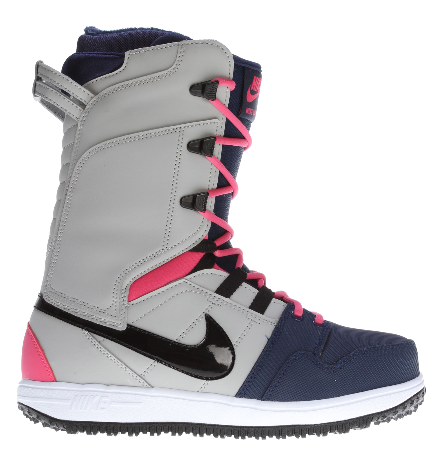 Snowboard Inspired by the Mogan Mid 2, the Nike Vapen Women's Snow Boot is made of durable, high-quality material in a supportive, cushioned fit that grips the board for enhanced control and lightweight comfort.Key features of the Nike Vapen Snowboard Boots: Synthetic leather upper with lace-up design for supportive fit and comfort Midfoot strap with reinforced lace grommets for lock-down fit Phylon midsole for lightweight cushioning Multi-traction outsole with heel and forefoot pivot points for superior grip and board control Perforations at toe for enhanced ventilation Heel tab for easy on and off Rubber outsole for durability - $210.00