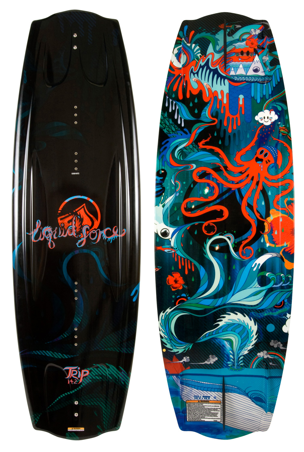 Wake The Trip continues to be a top seller year after year... a true sign that it works perfectly! It's an amazing board for any level rider because it's a consistent performer that is super smooth and forgiving, yet aggressive when pushed. A true industry classic that never gets old, many top LF riders got to where they are today by riding the Trip. Maximize your fun and value with the Trip!Key Features of the Liquid Force Trip Wakeboard: Aggressive, Continuous rocker: Smooth, fluid carves with a high arcing pop.: D-I-S-C Hull through the Center: Double – Inside – Single – Concave. Softens landings and maintains board speed.: Variable Edge Rail: Rounded rail in the center for a forgiving feel, sharp rail at the tail for edge control and response.: Modern Bat Tail: Fuller than the original for more lift off the tail of the board and tucked in the tips for quick transitions.: Molded-in, Warped Long Based Side FinsWakeboard Binding CompatabilityCan accomodate bindings with a 6 inch binding plate found here. Can accommodate bindings with a 7 inch binding plate with the exception of the narrowest positioning found here.Can only accommodate a single mounting position option for Liquid Force bindings with a 8 inch binding plate and offers two positions for all other vendors found here. - $269.99