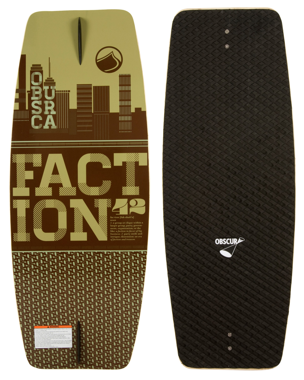Skateboard The Faction is the perfect wake skate to learn and progress on. This value price skate features a super forgiving outline with a foam top traction pad to help you learn the basics and guide you along. If you are new to wake skating or just looking to get your first deck, there is no better board to start your skate journey on than the Faction!Key Features of the Liquid Force Faction Wakeskate: New Board Outline: For 2013 we updated the outline of the board, to have more midsection and continuous outline shape, for a better edge hold and more consistent feel under your feet. New EVA Deck: Deck comes with applied die cut machined EVA grip that has been redesigned for this year. The grip offers much improved traction and Obscura logo branding Progressive 3 Stage Rocker: A mixture of aggressive 3 stage and continuous rocker, this rocker profile allows the board to stay under your feet as you edge or leave the wake. Single concave: The progressive 3 stage rocker is complimented with a single concave throughout the board that helps the board track even truer, with a fin or without, when you are on edge. Wood Construction: Decks that are pressed one at a time and individually CNC cut to a shape that will allow any rider, at any level to ride. Once the board is machined it goes thru a varnishing process twice to ensure a quality seal. Constant Rail Edge: The rail of the board is soft throughout. This allows the board to have a forgiving feel. Skate Fin: Comes standard with two 1.0 skate fins. - $84.95