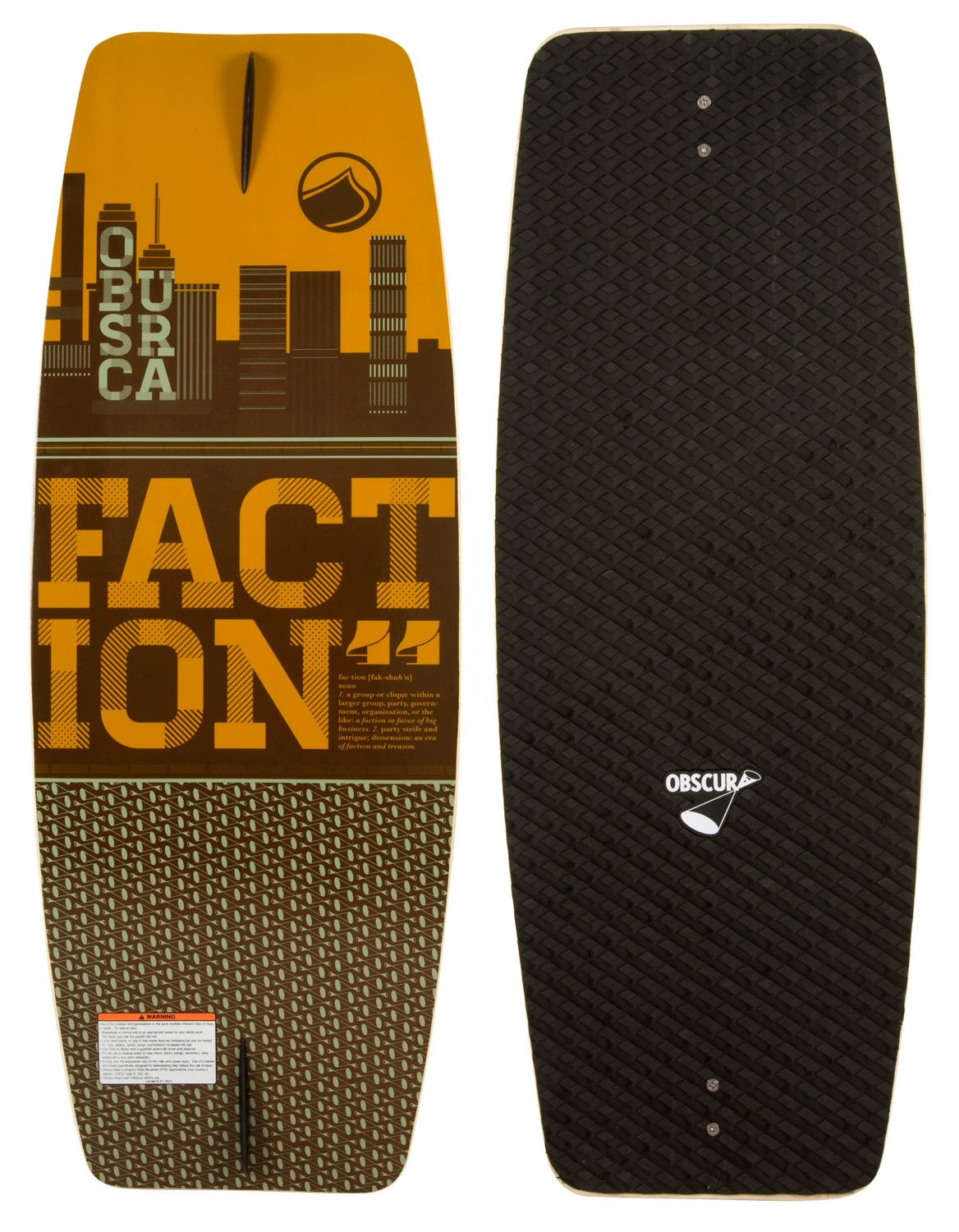 Skateboard The Faction is the perfect wake skate to learn and progress on. This value price skate features a super forgiving outline with a foam top traction pad to help you learn the basics and guide you along. If you are new to wake skating or just looking to get your first deck, there is no better board to start your skate journey on than the Faction!Key Features of the Liquid Force Faction Wakeskate: New Board Outline: For 2013 we updated the outline of the board, to have more midsection and continuous outline shape, for a better edge hold and more consistent feel under your feet. New EVA Deck: Deck comes with applied die cut machined EVA grip that has been redesigned for this year. The grip offers much improved traction and Obscura logo branding Progressive 3 Stage Rocker: A mixture of aggressive 3 stage and continuous rocker, this rocker profile allows the board to stay under your feet as you edge or leave the wake. Single concave: The progressive 3 stage rocker is complimented with a single concave throughout the board that helps the board track even truer, with a fin or without, when you are on edge. Wood Construction: Decks that are pressed one at a time and individually CNC cut to a shape that will allow any rider, at any level to ride. Once the board is machined it goes thru a varnishing process twice to ensure a quality seal. Constant Rail Edge: The rail of the board is soft throughout. This allows the board to have a forgiving feel. Skate Fin: Comes standard with two 1.0 skate fins. - $99.99