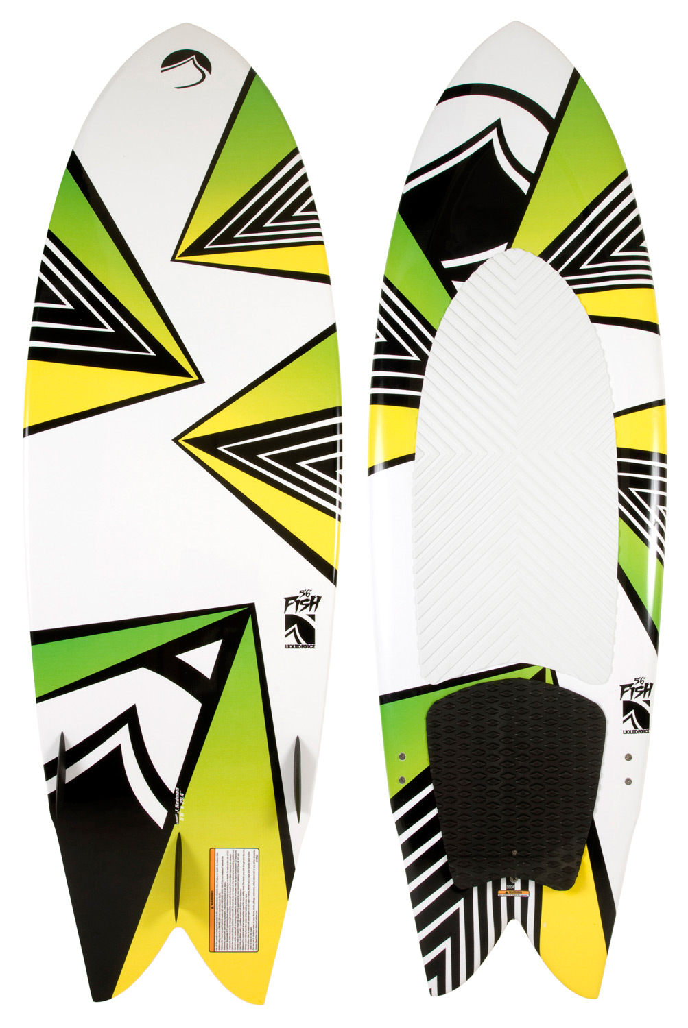 Wake The Fish is the wake surfer that ANYONE on the boat can have a blast on. First timers will appreciate the ease of use and buoyancy, while experienced surfers will appreciate the advanced shape, speed, and durability. The swallow tail makes it a bit looser through the back, allowing you to turn and hack at will. The most durable wake surfer in our lineup, this board is a must have for any boat!Key Features of the Liquid Force Fish Wakesurfer: Winged Swallow Tail - Fish Outline: The Fish is designed with a fuller shape/ outline to provide maximum float & drive. Compression Molded Design: Clean look and maximum durability. Full Rail Shape with Sharp Edge through the Tail: Quicker water release for improved speed & glide. Double Concave Hull: This Hull creates smooth and efficient water flow with extra lift. Interchangeable 2+1 Fin Set-Up: Adapt the set-up to suit your own riding style Grooved EVA Deck Pad: Arch bar & kick stop for positive grip and sure-footed traction. - $299.99