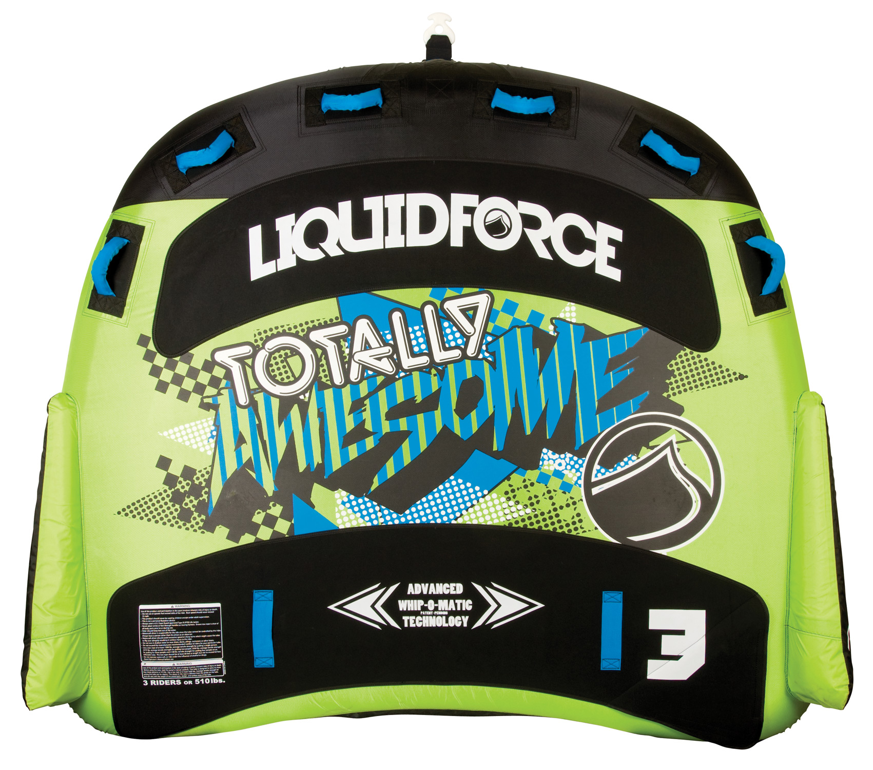 "Your 3 person Rocket with Whip-O-Matic Technology.Key Features of the Liquid Force Totally Awesome 3 Tube: 76"" x 88"" / 3 person design 6 Neoprene padded handle with knuckle guards Durable 420D / 840D Nylon Cover 28 gauge air bladder Quick connect tow attachment - $309.99"