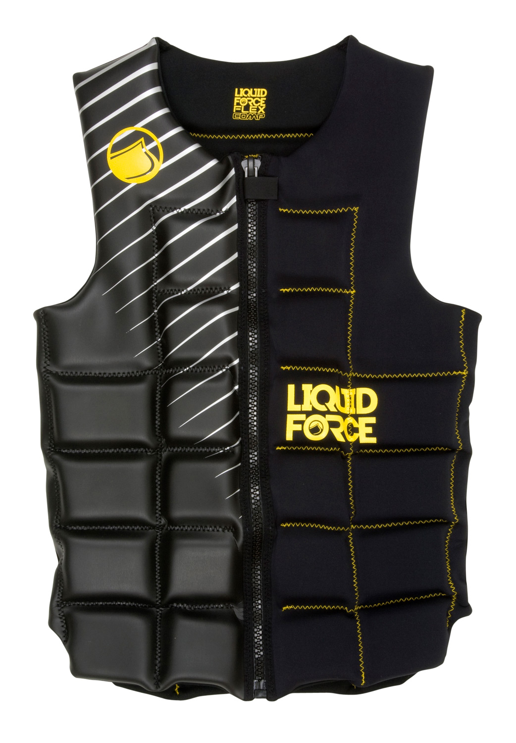 Wake The Liquid Force team was looking for comfortable, flexible vest that fit every one. The Flex Comp has all the flexibility of our pullover vests but ease of entry of a front zipper. Fully segmented design, wide neck and arm openings makes this the vest for every one in the boat. Get you size and rock out in the Flex.Key Features of the Liquid Force Flex Comp Wakeboard Vest: Super clean design: Increased forward flex and comfort... no buckles to get in the way Full Front Zip: The full zipper makes it easier to get into and out of. Segmented Foam Panels: Designed to fit you perfectly Super-Stretch Neoprene: Flex panels allow Vest: Extra space and comfort for added mobility Strapless design: Clean and simple with nothing to get in your way on handle passes. - $111.95