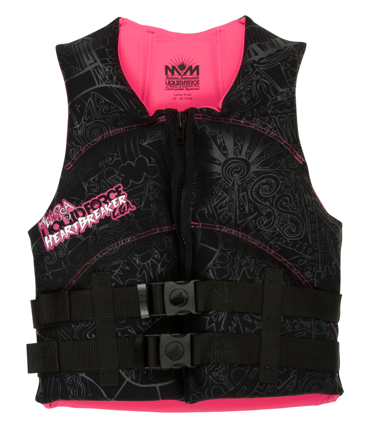 Wake The Heartbreaker is Melissa Marquardt's signature CGA Vest. It's what she wears when she's not competing. It features slimmed-down, quilted foam padding and allows her or any female ripper to move more freely. The vest is cut higher to provide optimum comfort and range of movement for women. The stealthy hidden straps provide the freedom to pass the handle without anything getting in your way.Key Features of the Liquid Force Heartbreaker CGA Wakeboard Vest: US Coast Guard Approved: Maximum flotation and safety Women's Cut: Shorter cut to fit just right Segmented PVC Front Panels: Ergonomic flex patterns keep the Vest: Extra space and comfort for added mobility Heavy Duty Zipper: Secure, solid hold Hidden Straps: Clean support with nothing to get in the way - $63.95