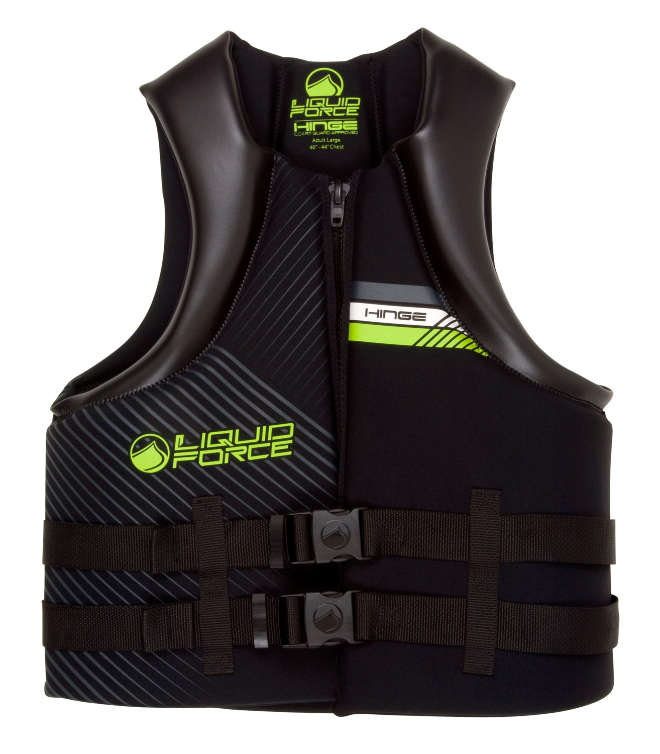 Wake The Hinge uses segmented foam panels and hinge points to allow for superior movement in a CGA vest. There's no comparison to the mobility and comfort and value this vest offers. The segmented sections are beveled to hinge with your every move and provide a high-end vest feel.Key Features of the Liquid Force Hinge CGA Wakeboard Vest: US Coast Guard Approved: Maximum flotation and safety Segmented Shoulders: Rounded separate sections of foam that flex and provide mobility Oversized Arm Holes: Extra space and comfort for added mobility Heavy Duty Zipper: Secure, solid hold Hidden Straps: Clean and simple - $63.95