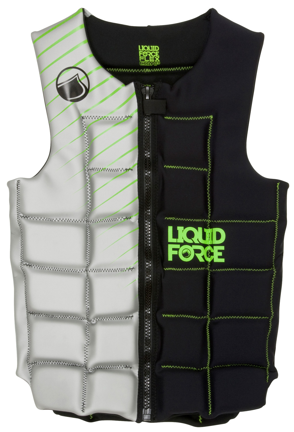 Wake The Liquid Force team was looking for comfortable, flexible vest that fit every one.  The Flex Comp  has all the flexibility of our pullover vests but ease of entry of a front zipper.  Fully segmented design, wide neck and arm openings makes this the vest for every one in the boat.    Get you size and rock out in the Flex.Key Features of the Liquid Force Flex Comp Wakeboard Vest:  Super clean design: Increased forward flex and comfort... no buckles to get in the way  Full Front Zip: The full zipper makes it easier to get into and out of.  Segmented Foam Panels: Designed to fit you perfectly  Super-Stretch Neoprene: Flex panels allow Vest: Extra space and comfort for added mobility  Strapless design: Clean and simple with nothing to get in your way on handle passes. - $98.95