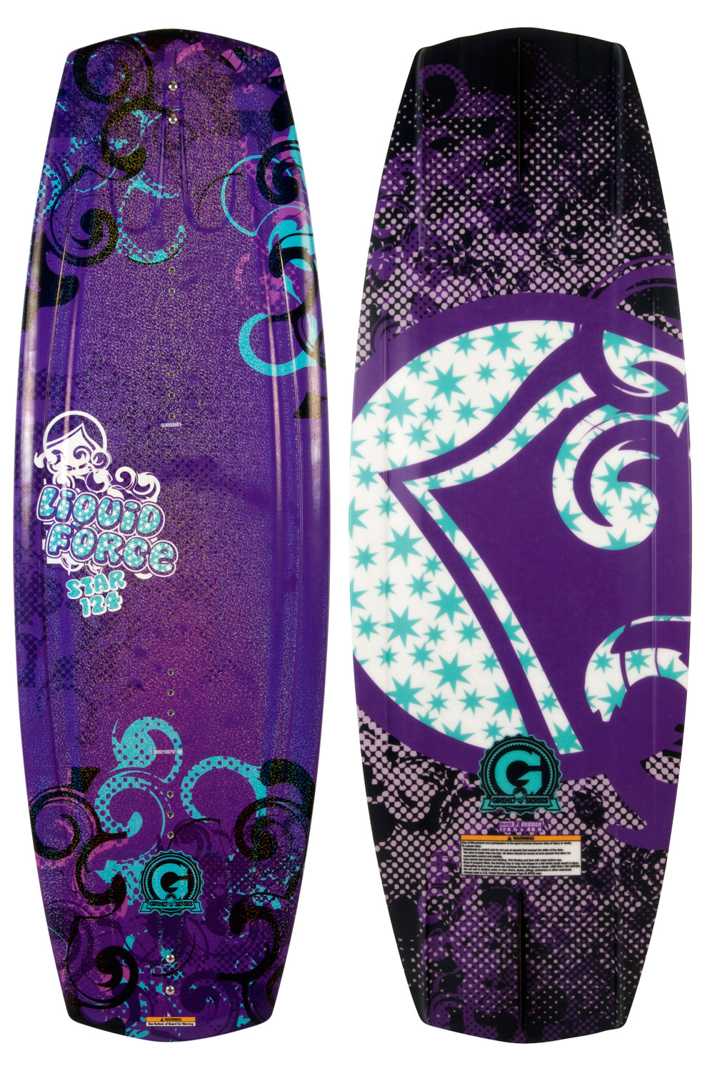 Wake The Star is a perfect board for that young ripper in your life because it is so smooth and forgiving. This board will get your little girls hooked on the sport and riding like Amber, Melissa & Megan in no time. Maximize their fun and fuel their passion with the Star and Star Grind!Key Features of the Liquid Force Star Grind Wakeboard: Classic Continuous Rocker on 111 and 118: (118 is a slightly more aggressive rocker) This rocker template provides a smoothly predictable ride. Mellow, 3-Stage Hybrid Rocker on 124: The continuous curve with extra kick in the tip provides smooth edging with higher pop off the wake. Variable Edge Rail Mellow Molded in Fins: (118 has deeper and sharper fins and 124 has canted fins to get on edge quicker) These fins provide extra tracking control for the young ripper. LF Exclusive GRIND base Material Wakeboard Binding CompatabilityCan accomodate bindings with a 6 inch binding plate found here. Can only accommodate a single mounting position option for Liquid Force bindings with a 8 inch binding plate and offers two positions for all other vendors found here. - $195.95