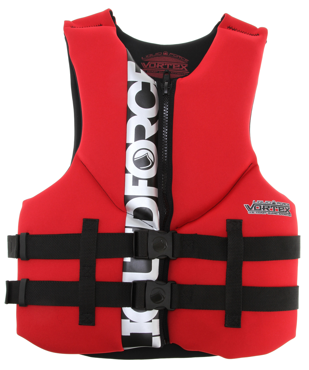 Wake The New Liquid Force Vortex CGA is maxed out on comfort and style but still has space for Coast Guard Approved flotation. The Vortex is a high performance vest that features ergonomic chest flex sections and a unique back flex section. Convenient front zip and snap buckles with hidden straps provide for easy entry and a secure fit. Comfort for cruising and the needed flexibility to help rotate that next trick you have been trying to land.* US Coast Guard Approved: Maximum flotation and safety * Ergonomic Segmented Shoulders: Both front and back panels are designed to provide upper body mobility * Oversized Arm Holes: Extra space and comfort for added mobility * Heavy Duty front zipper * Double Straps * Clean, safe support - $48.95