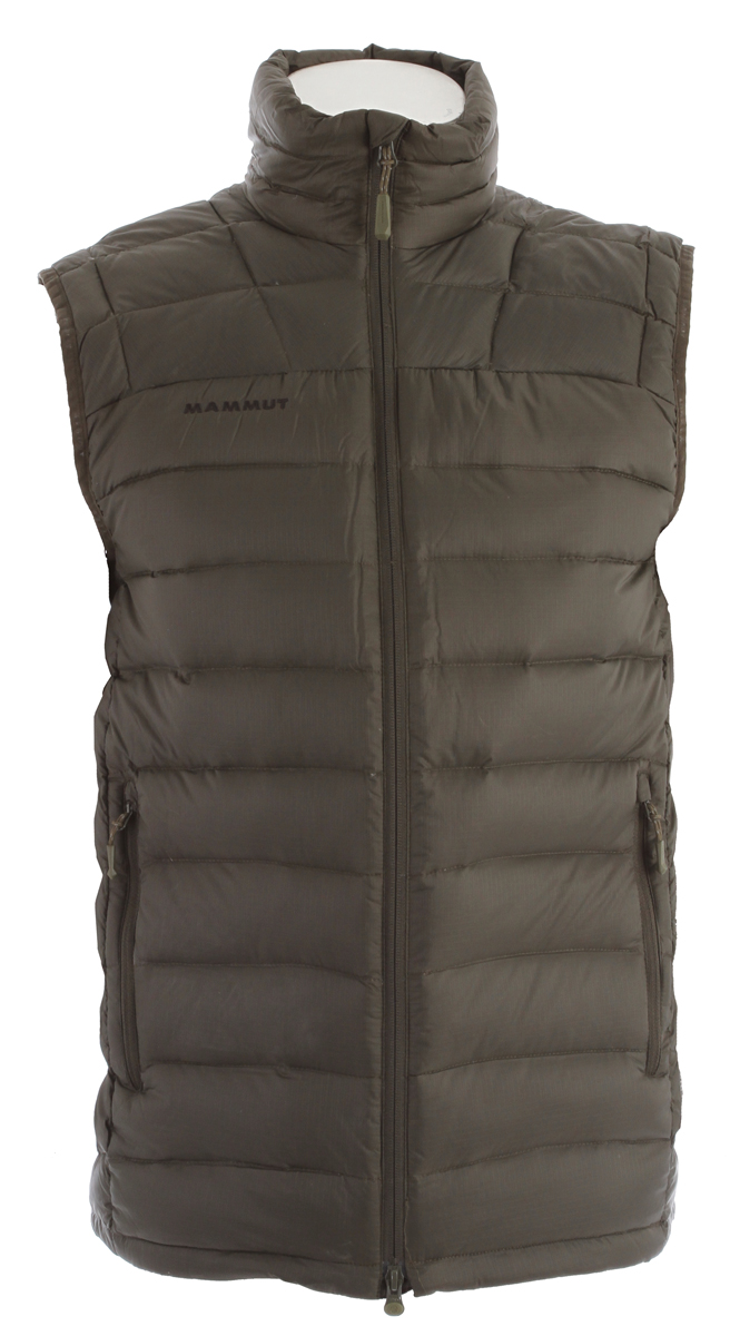 Key Features of the Mammut Broad Peak Vest: Pertex Quantum Face material: 100% Polyamide Goose down 90/10, 750 cuin Very light and warm down vest Filled with 70g 90/10 goose down and 750 cuin fill power Excellent insulation Water-resistant outer material Drawcord hem, adjustable using one hand 2 hand pockets with zip Jacket can be stowed away in the left front pocket - $109.95