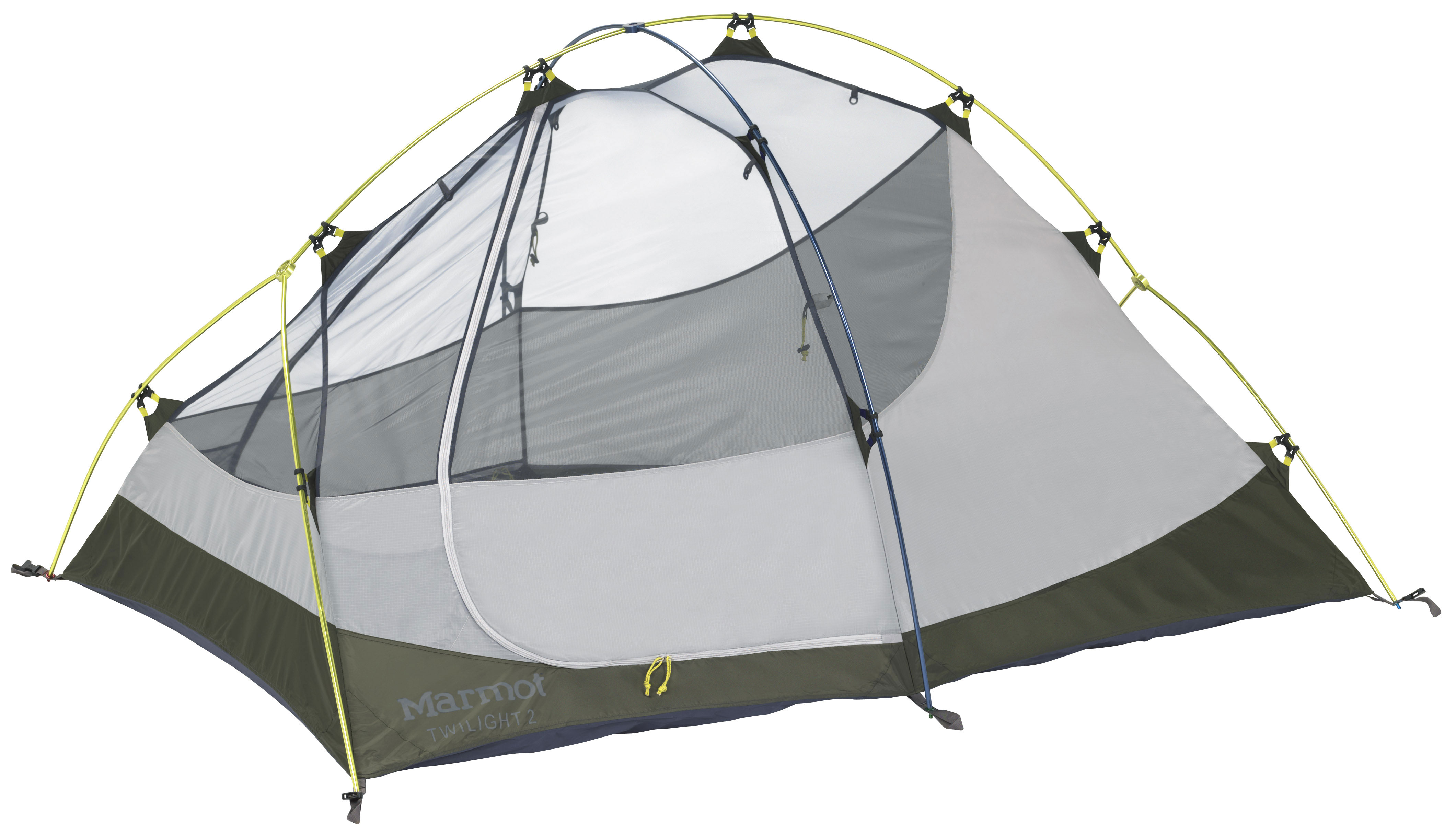 Camp and Hike The Twilight, with its innovative hub pole system, is a roomy, lightweight backpacking tent with a large vestibule for keeping packs and boots dry.Key Features of the Marmot Twilight 2 Person Tent:  Gear Loft and Footprint Included  DAC FeatherLite Poles - Provide Excellent Strength-to-Weight Ratio  Full Coverage Fly  Two Doors / Two Vestibules  Fly Vent for Moisture Dissipation - Adjustable flap for ventilation  Bare Bones Setup - Allows the Fly to be Used by Itself with Footprint to Make a Lightweight, Sturdy Shelter  Catenary Cut Floor - Fully Waterproof Floor with Taped Seams Lifted Off the Ground  Jingle-Free Nylon Zipper Pulls - Promote Undisturbed Sleep  Light-Reflective Points - To Find Your Tent At Night  Snag-Free Zipper Flap - Zip and Un-Zip Without Getting the Zipper Caught  Stake Tape - Stake Tape  Window Weld - Waterproof Window Construction Reduces Weight and Enhances Appearance  Maximum Weight: 5 lbs 9 oz / 2.523 kg  Minimum Weight: 5 lbs 4 oz / 2.381 kg  Dimensions: 40x60x88in / 101.6x152.4x223.5cm  Packed Size: 7 x 17 in / 17.8 x 43.2 cm  Vestibule Area: 21 sq ft / 2 sq m  Tent Poles: 2 / DAC FeatherLite 8.84mm  Floor Area: 34 sq ft / 3.2 sq m  Tent floor Material: 70d 100% Nylon 2000mm W/R, F/R  Tent canopy Material: 68d 100% Polyester Ripstop,F/R  Tent fly Material: 68d 100% Polyester Ripstop 1800mm, W/R, F/R - $250.95