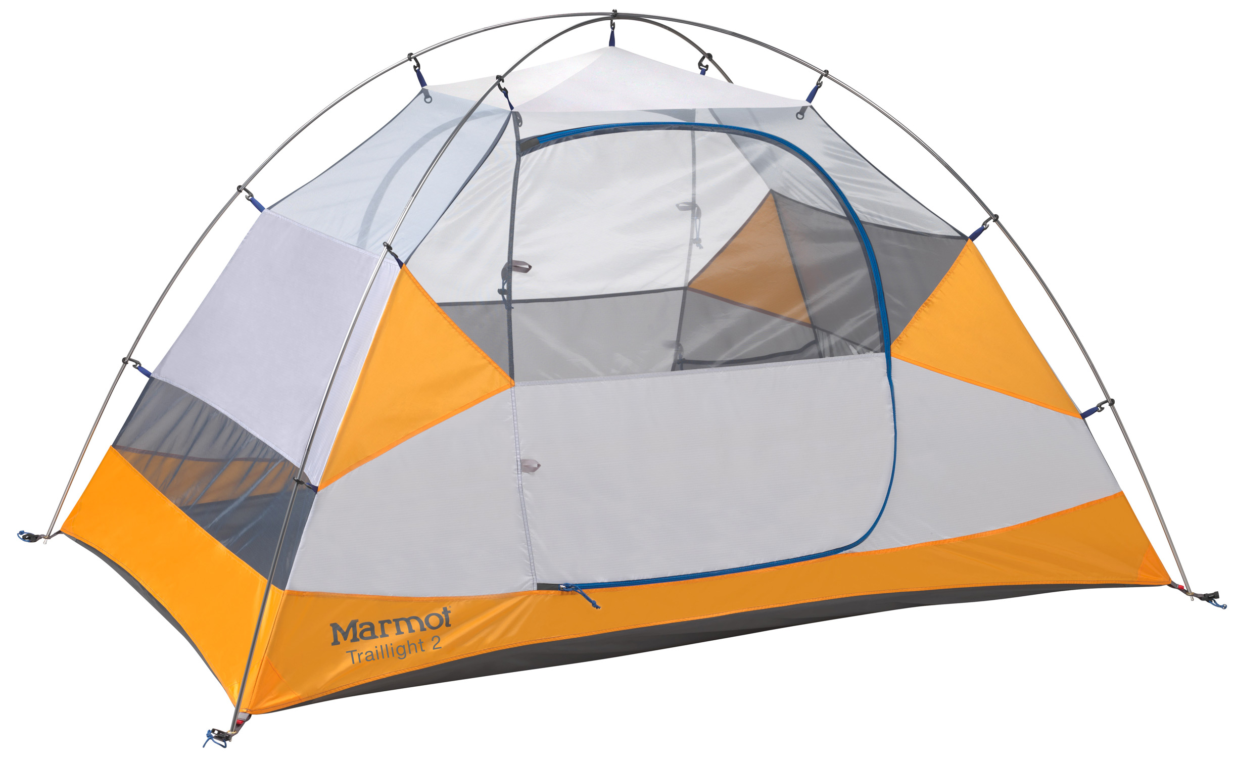 Camp and Hike Key Features of the Marmot Traillight 2 Person Tent: DAC Press-Fit Poles Two D Shaped Doors Full Coverage Fly Center Zip Front Vestibule Catenary Cut Floor Snag-Free Zipper Flap Jingle-Free Nylon Zipper Pulls Light-Reflective Points Fly fabric 68d 100% Polyester Ripstop 1800mm, W/R, F/R Canopy fabric 68d 100% Polyester Ripstop,F/R / 40d 100% Polyester No-See-Um Mesh F/R Floor fabric 70d 100% Nylon PU 3000mm W/R, F/R Min. Weight 4lbs 10oz (2097g) Max. Weight 5lbs 0oz (2267g) Dimensions 43 x 54 x 90in / 109 x 137 x 228.6cm Floor area 33.75 sq ft, 3.1 sq m Vestibule area 9.6 sq ft, 0.9 sq m Packed size 26 x 7in / 66 x 17.8cm No./Pole type 2 / DAC Press-Fit - $142.95