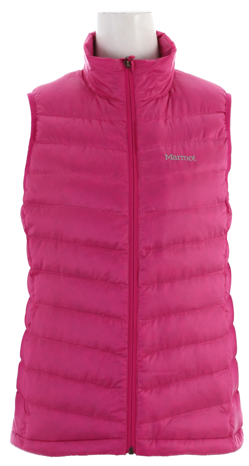 Fact: When your core is warm, so are you. This hardwearing, versatile vest delivers a strong shot of warmth right where it counts. 800 fill goose down is nature's finest insulator, and a quilted pattern gives delicate appeal to the water-resistant face fabric. Inside, you will find a fetching embossed lining and a handy elastic draw cord hem.Key Features of the Marmot Jena Vest: Ultralight Down-proof Fabric 800 Fill Power Goose Down Zippered Hand Pockets Elastic Draw Cord Hem Packs into Pocket - $105.95