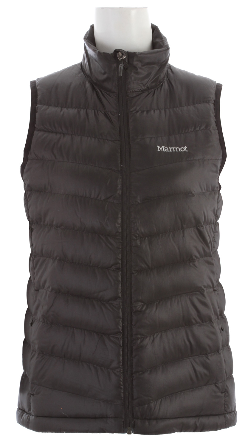 Fact: When your core is warm, so are you. This hardwearing, versatile vest delivers a strong shot of warmth right where it counts. 800 fill goose down is nature's finest insulator, and a quilted pattern gives delicate appeal to the water-resistant face fabric. Inside, you'll find a fetching embossed lining and a handy elastic draw cord hem.Key Features of the Marmot Jena Vest: Ultralight Down-proof Fabric 800 Fill Power Goose Down Zippered Hand Pockets Elastic Draw Cord Hem Packs into Pocket - $105.95