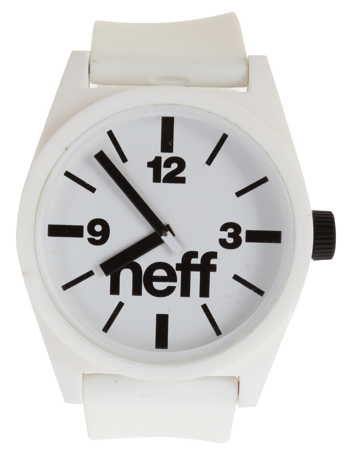 Skateboard The Neff Daily Watch has a clean and simple style you will never tire of. A large face with bold numbers is easy to read under the influence. The polyurethane band keeps things lightweight and the stainless steel back stands up against harsh impacts.Key Features of the Neff Daily Watch: XL display Smooth polyurethane strap 4cm diameter case Case made from protective ABS material Polyurethane adjustable strap One size fits all ABS stainless steel reinforced back 5 ATM water resistant - $30.00