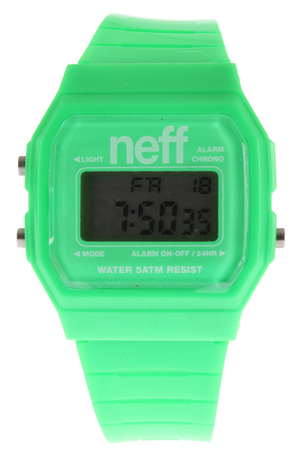 Skateboard Like a boss! High fives never looked so good!Key Features of the Neff Flava Watch:  ABS case   PU strap.  Alarm  Military Time  Backlight  Date  Water resistant up to five meters  Weight: 1 oz - $11.95