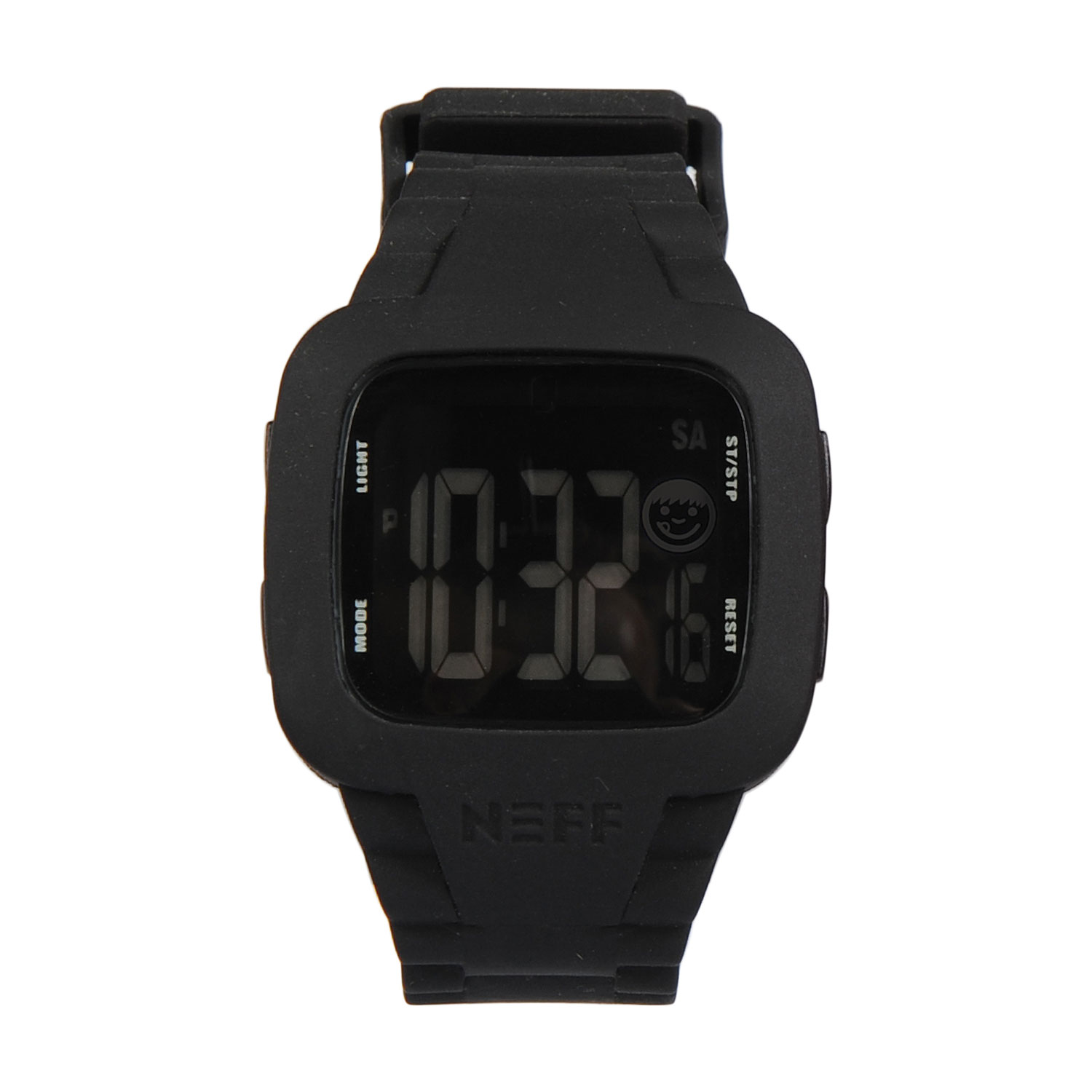 Skateboard Key Features of the Neff Steve Watch: Custom Neff Design Double injection silicon strap with PC case Alarm Military time Backlight and Date Water Resistant to 165FT - $50.00