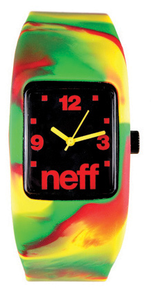Skateboard The Neff Bandit watch stretches to fit your wrist so you don't have to worry about it coming undone while shredding the hills. It also has an interchangeable face! Feel free to mix and match the Neff Bandit wristband watch with other Bandit watches for a customized look. Key Features of the Neff Bandit Watch: 2cm x 2.5cm display. Interchangeable face. Case made from protective ABS material. Silicon stretch band. Neff logo on display, crown and band. Stainless steel back. 5 ATM water resistant. Imported. - $25.00