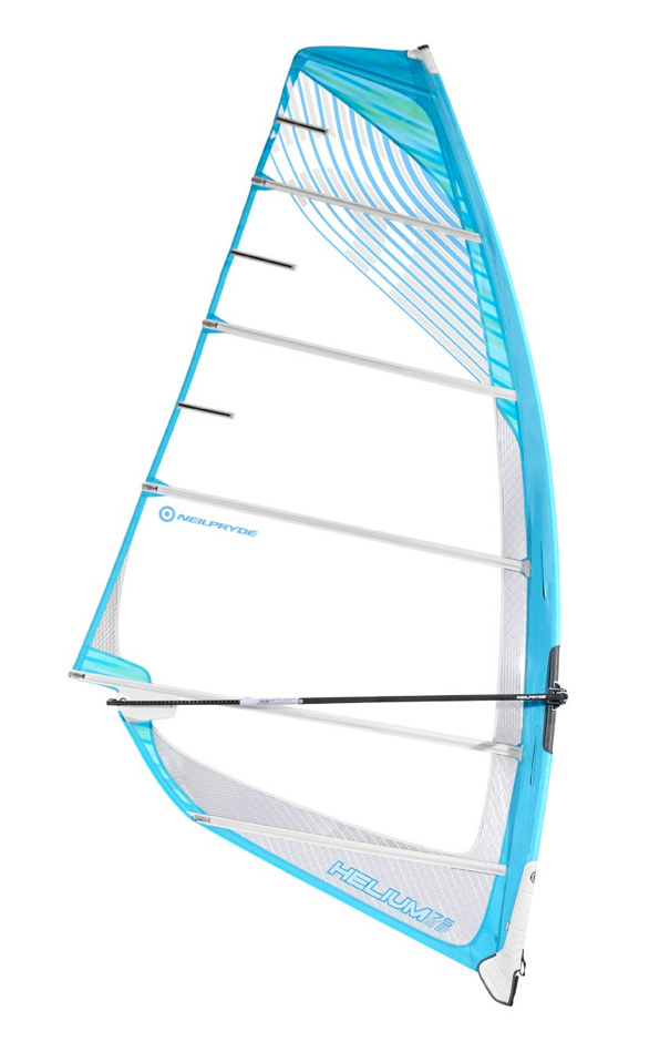 Wake If you are looking to get planing in light winds without having to carry around the weight of a large sail then this efficient profile will get you going just fine. Helium makes optimum use of its surface area resulting in ultimate top end control and performance.Key Features of the Neilpryde Helium Windsurf Sail: Deep, pronounced central to backhand oriented profile for extremely early planning and optimum lift in light winds. Moderate luff curve for medium body tension resulting in exceptionally early planing abilities. Dynamic Compact Clew, making the profile behind the clew able to twist off when wind pressure increases. The sail automatically adjusts its shape and thus controls excessive power. Ultracam F.R provides top performance from a regular ultracam in a compact design with facilitated rotation. Progressive use of monofilm thickness to combine a lightweight upper section with a durable foot area. Minimum luff sleeve width for a cambered sail for reduced weight and easy water starting. Luff Curve: Increased for stability Five full battens + flex head batten for a combination between light weight and low-end power. Size: 6.5, 7.5, 8.5 Luff: 448 (6.5), 471 (7.5), 493 (8.5) Boom: 192 (6.5), 212 (7.5), 232 (8.5) Base: 18 (6.5), 12 (7.5), 4 (8.5) Battens: 5 Cams: 2 Weight: 4.63 (6.5), 5 (7.5), 5.37 (8.5) Ideal Mast: 430 (6.5), 460 (7.5), 490 (8.5) Top Finishing: Fixed Head - $689.95