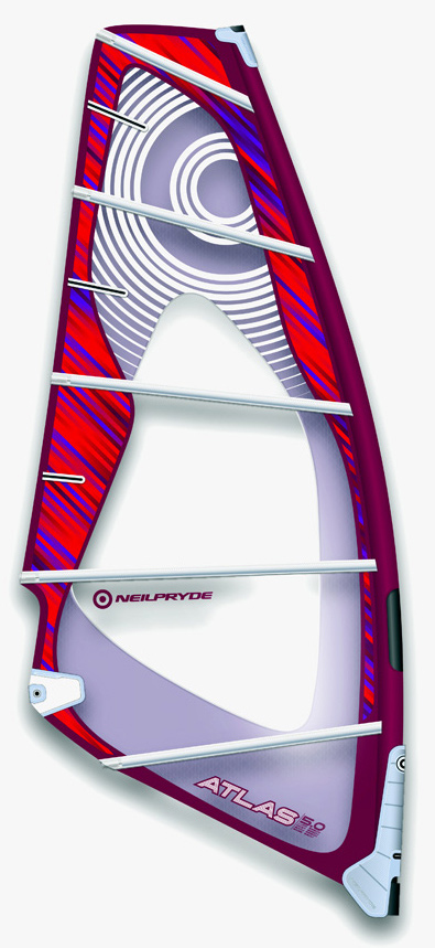 Wake With its power and lift this sail is made for the rider looking to have optimum performance in onshore conditions while still working well in all other conditions. It gets planing quickly and has the best upwind performance a wave sail can offer. The sail gives great lift for jumping while constant drive will help you make the most out of every wave.Key Features of the NeilPryde Atlas Sail: High skin (surface) tension gives good response and profile stability Moderate deep profile creates the most lift of all the NeilPryde wave sails. The low Aspect ratio will keep the power low down where the rider can use it. Large luff curve for increased body tension and stability. Low centre batten for increased stability Low clew position, for better release in the head and better balance. The draft extends higher up than in other wave sails to generate power and upwind performance in onshore conditions. The center of effort is perfectly balanced between both hands to combine a powerful profile with neutral feeling. - $469.95