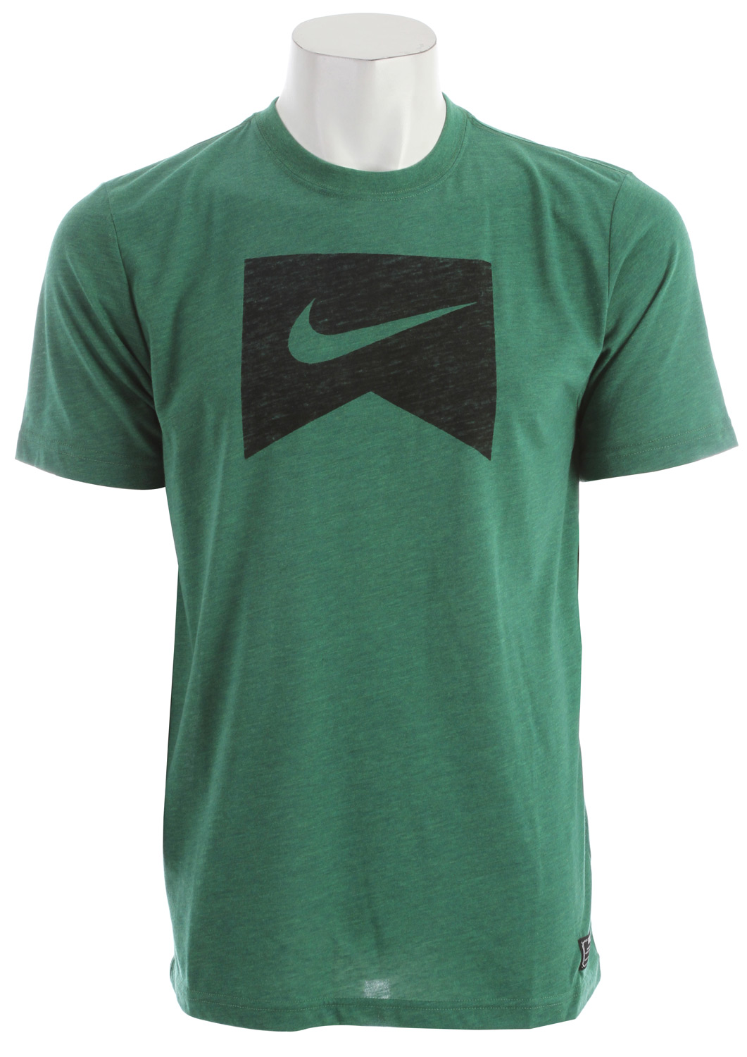 Skateboard Key Features of the Nike Ribbon Logo Dri-Fit T-Shirt: Body: Dri-FIT 130g. 75% polyester (10% recycled)/13% cotton (10% organic)/12% rayon plain jersey. Rib: 215g. 50% polyester/25% cotton (10% organic)/25% rayon rib. Dri-FIT blend tee Graphic executed with a soft hand screen print. - $28.00