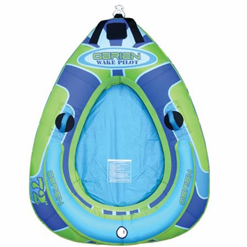 "Wake The tear-drop shaped O'Brien Wake Pilot Inflatable Tube delivers an exciting ride and an outstanding value.Key Features of the O'Brien Wake Pilot Inflatable Tube:  30-gauge PVC bladder  Heavy-duty 840-denier full cover  Two soft webbing handles with knuckle guards  Quick-connect hook  Separate inflatable floor for a comfortable ride  72"" x 65"" - $71.95"