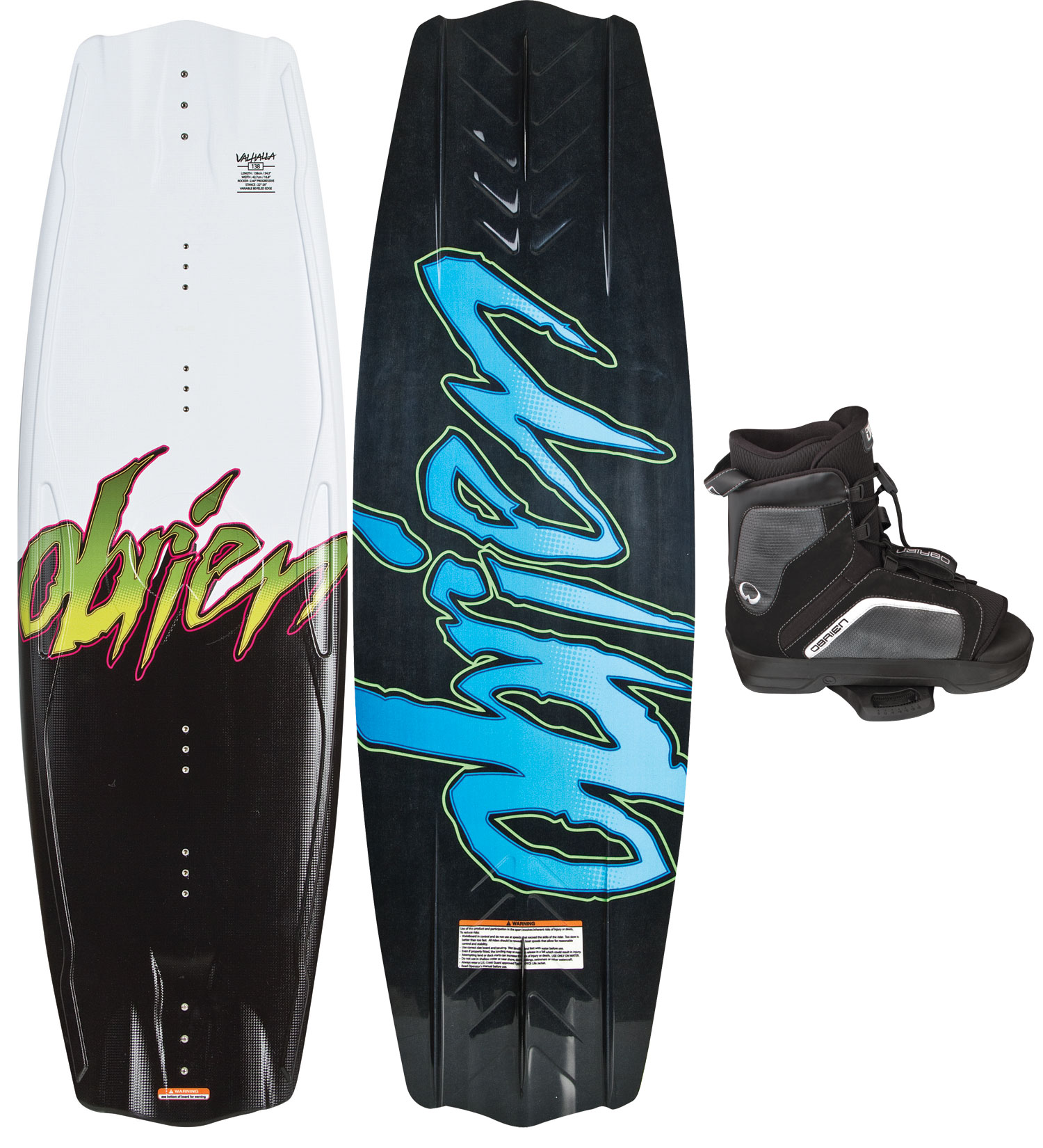 "Wake The O''brien Valhalla wakeboards feature a full rail through the center of the board that tapers towards the tips, along with a very ""floaty"" skate inspired feel and the ability to hook up and hit the wake with speed when needed. A very light deck and thin tip and tail give this deck a low-mass swing weight. A highly favored board by O''Brien''s team riders and arguably the best value in all of wakeboarding.Key Features of the O''Brien Valhalla Wakeboard: Length (cm): 138 Mid Width (cm): 42.7 Rocker (cm): 2.40"" ProgressiveKey Features of the O''Brien Link Bindings: Open Toe Design for more fit flexibility Free-Flex tongue opens wide for easy entry Size specific construction Strobel laste liner CMEVA outsole Comfort footbed Fixed Off-Axis plate - $303.95"