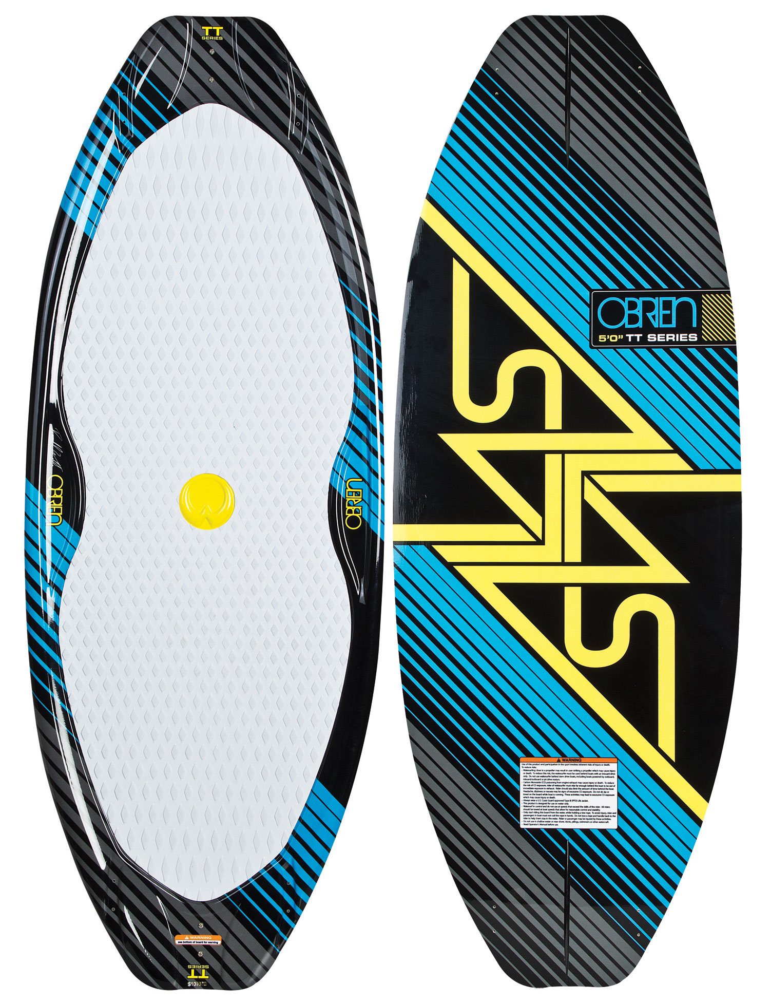"Surf Blending the line between surfing and skating, O'Brien Alias TT wakesurfers are a true symmetrical twin tip board. Designed to be ridden centered on the board, the deck is fully dished out to give the board the feel and control of a concave skate. A squash tip and tail give the board push and let you pump from way back on the wake. Ride switch, slide the lip, and spin 3s like never before. Quad side fins give just the right edge bite for most riders, but advanced riders can choose to run a single center fin or no fins at all.Key Features of the O'Brien Alias TT Wakesurfer: Length (cm): 4' 6"" Mid Width (cm): 51.26 Rocker (cm): 1.57"" 3 Stage - $197.95"