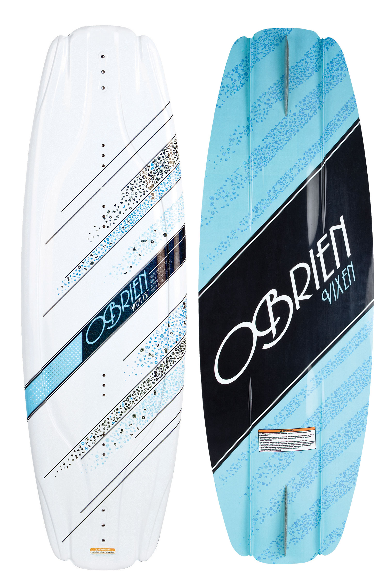 "Wake The O'Brien Vixen Wakeboard has all the features of O'Brien's Clutch wakeboard, tuned for the ladies. Extended refined molded-in fins give the smoothest control, Pop comes easy with the three-stage rocker.Key Features of the O'Brien Vixen Wakeboard: Shape by Cobe Mikacich Graphic Treatment: Sparkle top, chrome perf. Rocker Type: Three-stage Skill Level: Beginner/Intermediate Construction: PBT top w/ injection foam core Fin Configuration: Three on each end. One 1.4"" Pipe center fin and two molded-in side fins Wakeboard Binding CompatabilityCan not accomodate bindings with a 6 inch binding plate. Can accommodate bindings with a 8 inch binding plate in all position options found here. - $155.95"