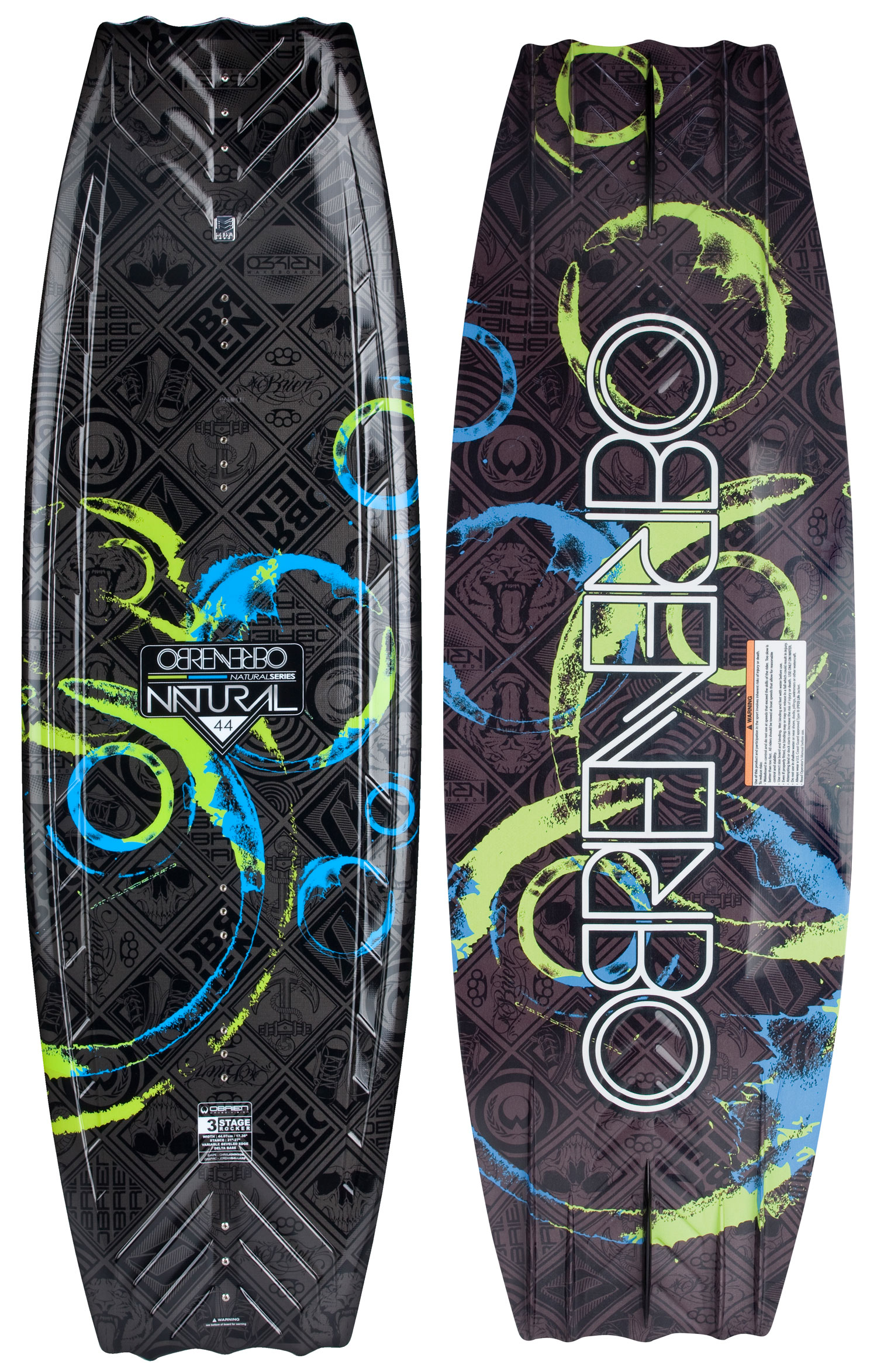 "Wake The O'Brien Natural Wakeboard, a favorite of riders of all levels! The Natural's full profile and wide tips are ideally suited to the rider who prefers a slightly tail-heavy approach to the wake. The blended three-stage rocker kicks the tail into the wake, generating more vertical pop. Have you witnessed O'Brien's proprietary Delta Base Technology in action? The Natural started the Delta revolution that creates a smoother, faster ride in any water condition. The variable beveled edge and quad molded fins provide secure edging, even when not using the optional center fin. The O'Brien Natural Wakeboard, one ride is all it takes!Key Features of the O'Brien Natural Wakeboard: Rocker Type: Three-stage Skill Level: Intermediate/Advanced Construction: PBT top w/ injection foam core Fin Configuration: Five on each end. One 0.7"" Pipe center fin and four outer molded-in fins. Wakeboard Binding CompatabilityCan not accomodate bindings with a 6 inch binding plate. Can accommodate bindings with a 8 inch binding plate in all position options found here. - $280.95"