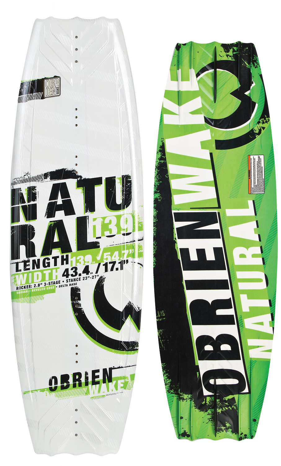 Wake The O'Brien Natural Wakeboard, a favorite of progressing riders and seasoned veterans! The Natural's full profile and wide tips are ideally suited to the rider who prefers a slightly tail-heavy approach to the wake. The blended 3-stage rocker kicks the tail into the wake, generating more vertical pop. The variable beveled edge and quad molded fins provide secure edging, even when not using the optional center fin. Have you witnessed O'Brien's proprietary Delta Base Technology in action? The Natural started the Delta revolution that creates a fast, smooth ride over all water conditions. The O'Brien Natural Wakeboard, one ride is all it takes!This board has some minor cosmetic defects-nothing that affects the performance Wakeboard Binding CompatabilityCan accomodate bindings with a 6 inch binding plate found here. Can only accommodate a single mounting position option for Liquid Force bindings with a 8 inch binding plate and offers two positions for all other vendors found here. - $237.95